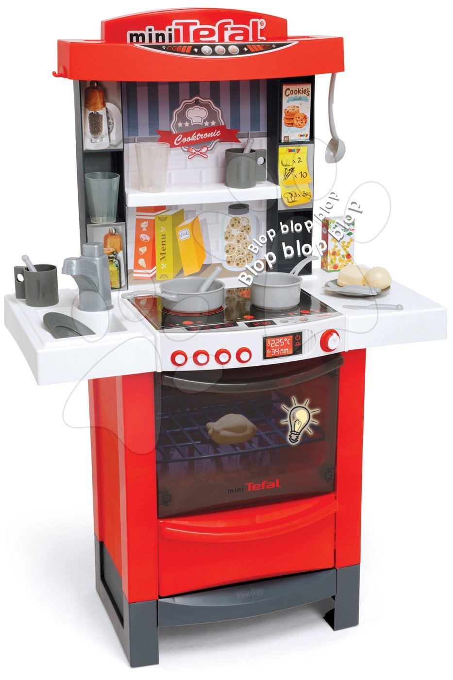 Elektronické kuchynky - Kuchynka Cook´tronic Tefal Smoby elektronická so svetlom a zvukmi s 20 doplnkami červená