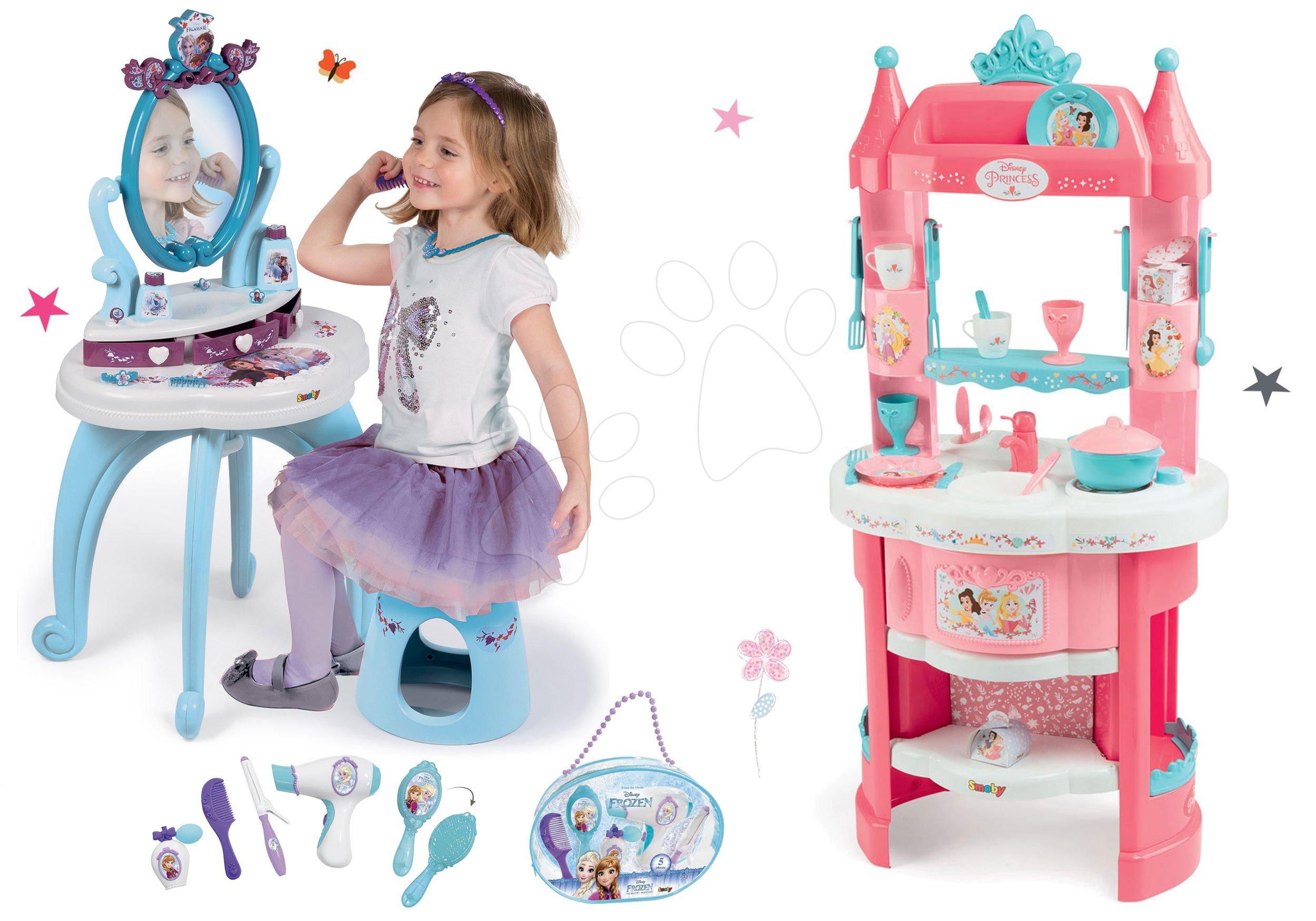 Kuhinje za djecu setovi - Set kuhinja Princeze Smoby obostrana s tornjevima i 19 dodataka i kozmetički stolić sa stolcem i kozmetička torbica