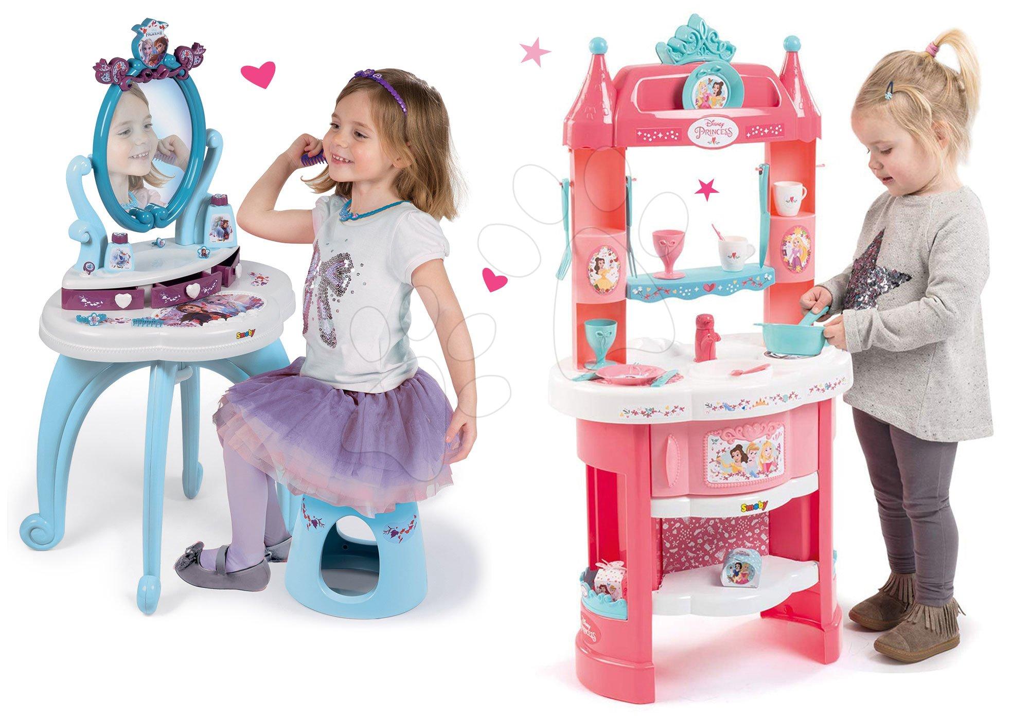 Kuhinje za djecu setovi - Set kuhinja Princeze Smoby obostrana s tornjevima i 19 dodataka te kozmetički stolić sa stolcem