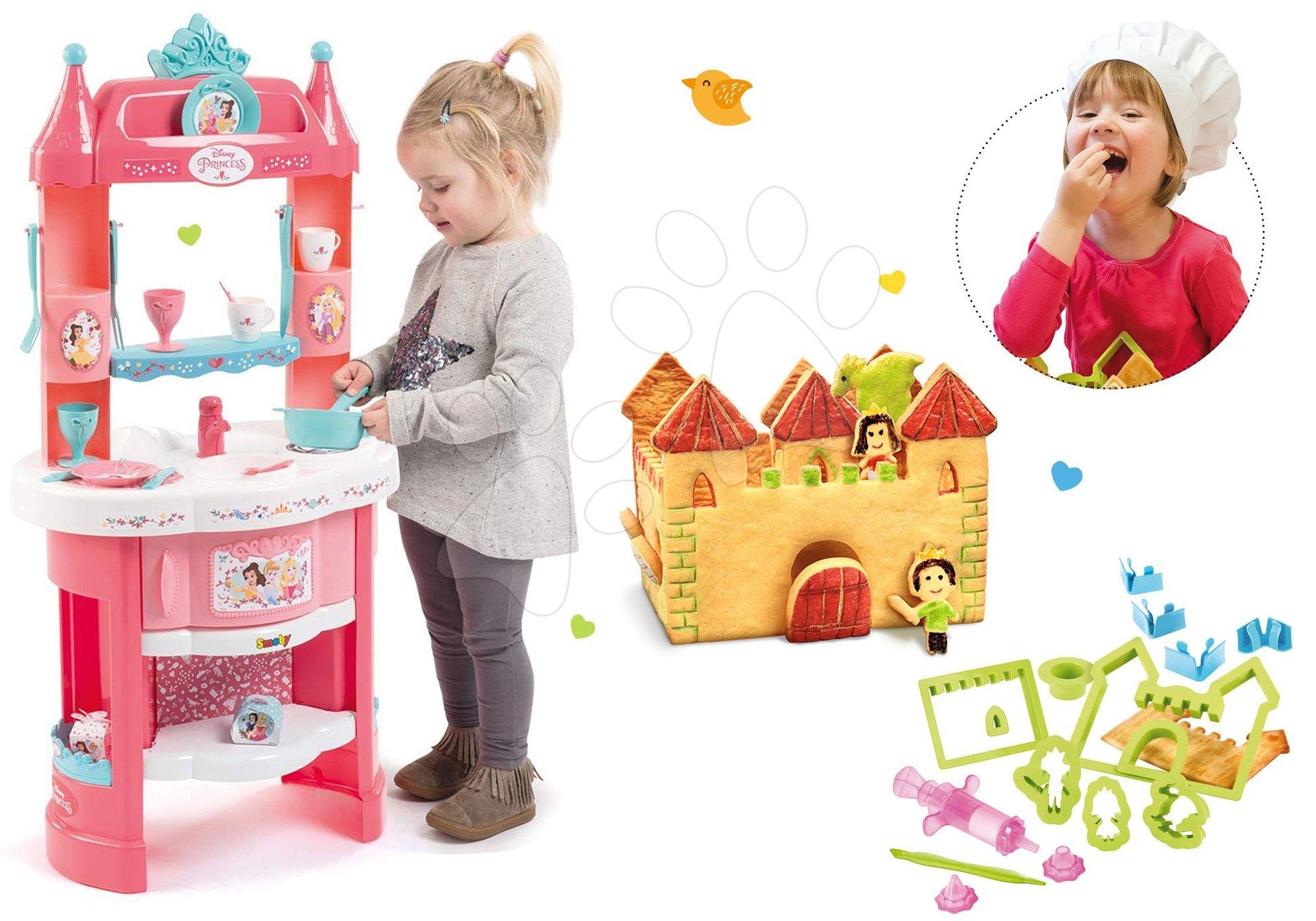 Kuhinje za djecu setovi - Set kuhinja Princeze Smoby obostrana s tornjevima i 19 dodataka i Razigrana kuharica Chef Kuća od medenjaka s receptima i kalupima za pečenje