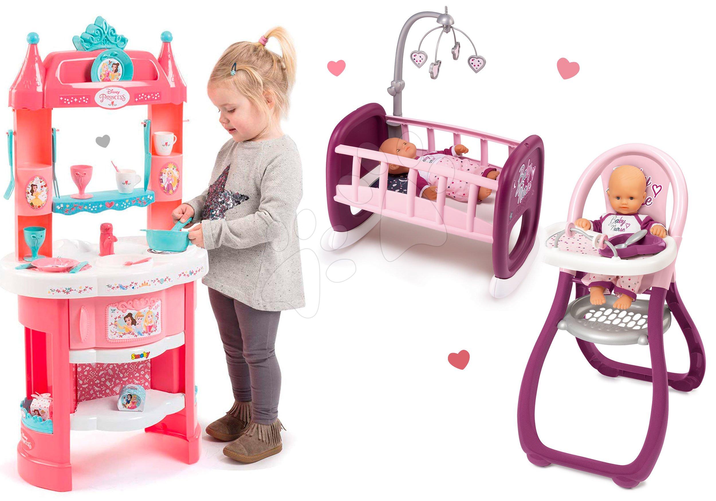 Kuhinje za djecu setovi - Set kuhinja Princeze Smoby obostrana s tornjevima i 19 dodataka, hranilica i kolijevka za lutku