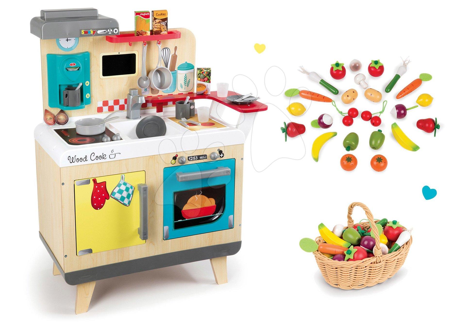 Set drevená kuchynka Wood Cook Smoby s kávovarom a drevená zelenina a ovocie v prútenom košíku 24 ks