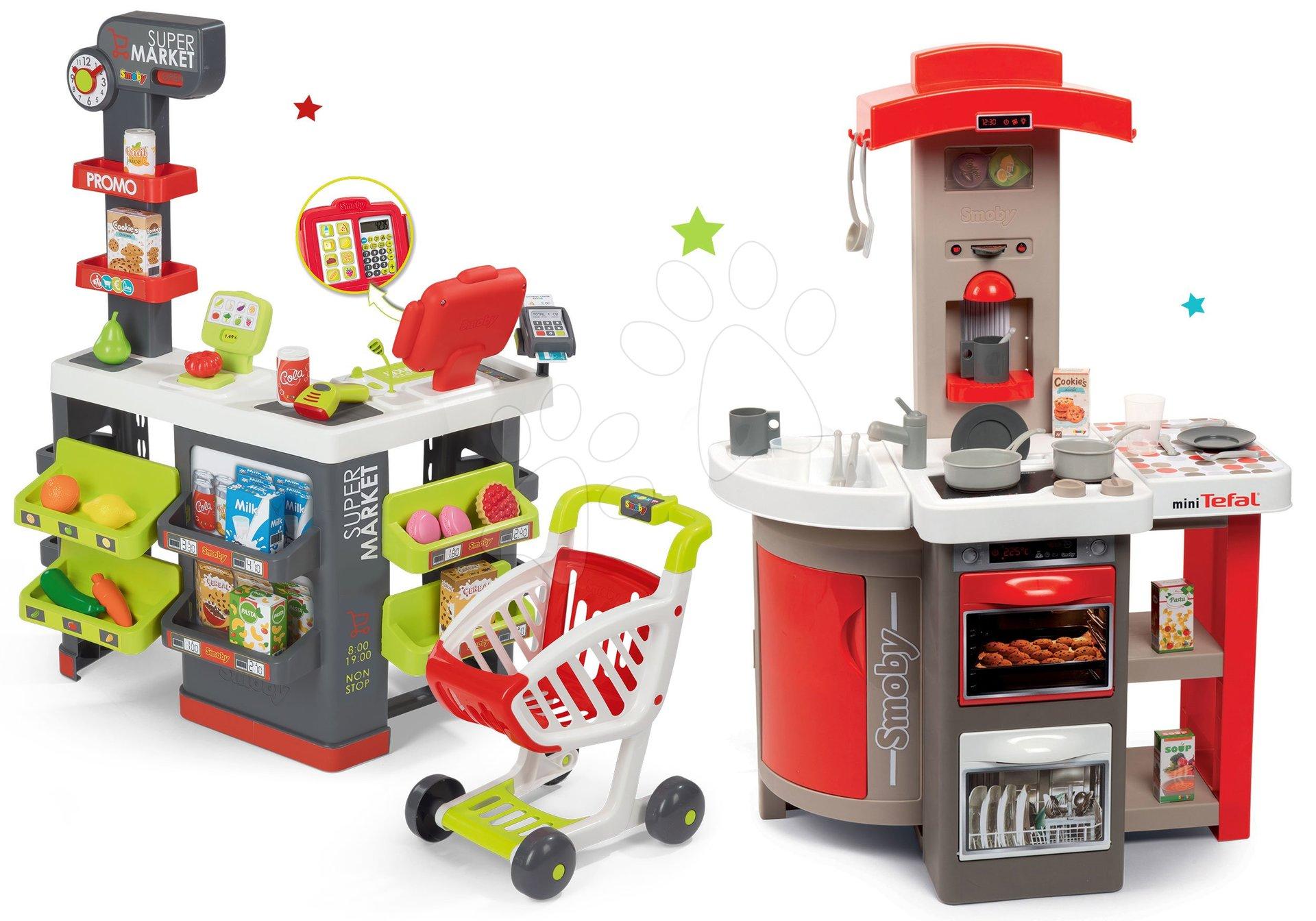 Set kuchyňka skládací Tefal Opencook Smoby červená s kávovarem a chladničkou a obchod Supermarket s elektronickou pokladnou