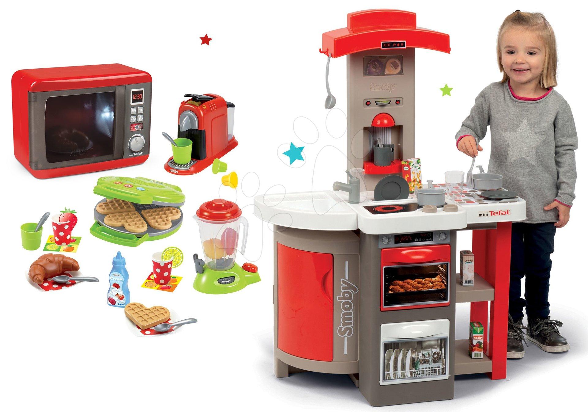 Set crvena sklopiva kuhinja Tefal Opencook Smoby s aparatom za kavu i hladnjakom i mikrovalna pećnica te aparat za vafle s kuhinjskim uređajima i vaflima