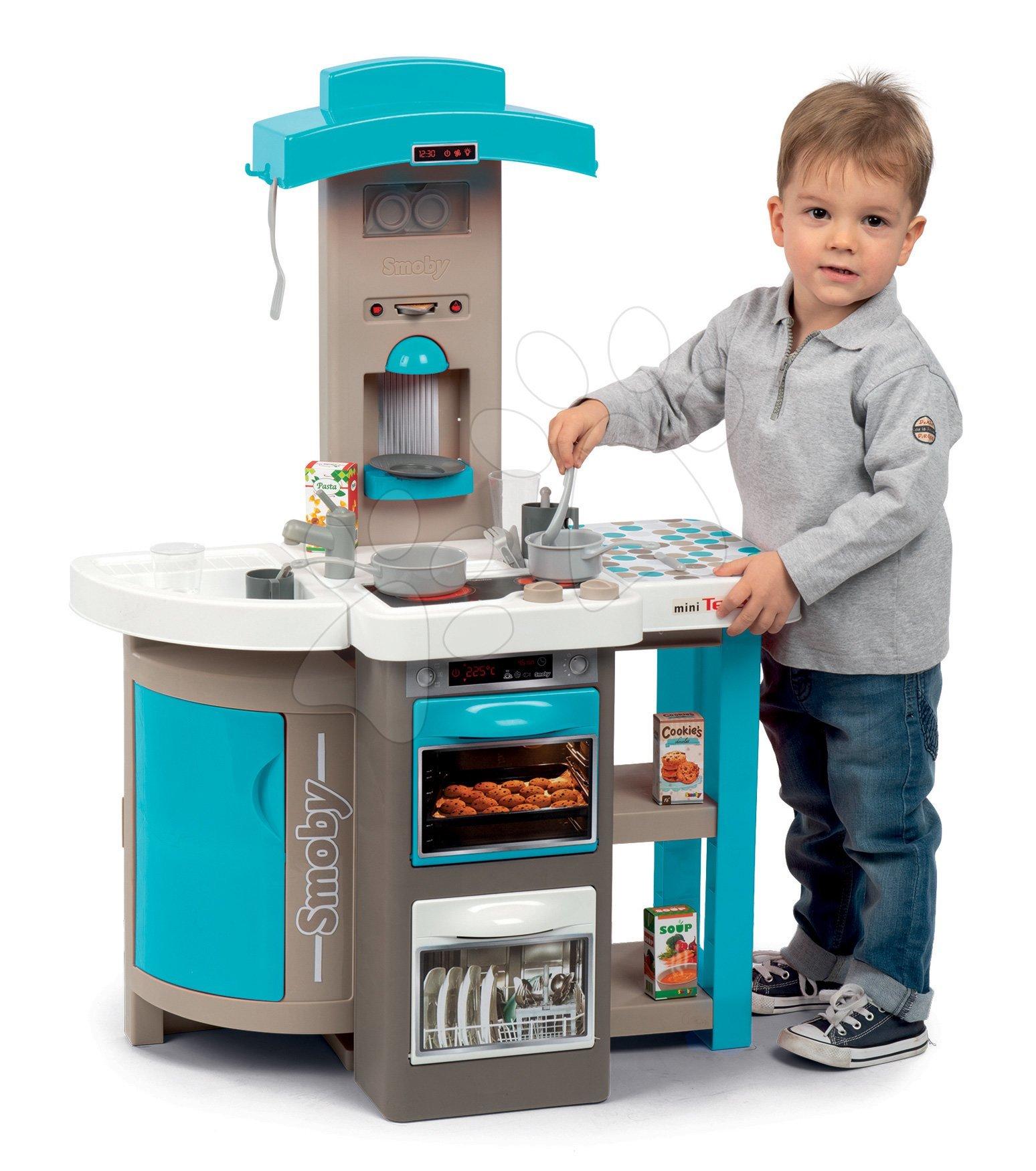 Kuchyňka skládací Tefal Opencook Bubble Smoby modrá s magickým bubláním, kávovarem, ledničkou a 24 doplňků