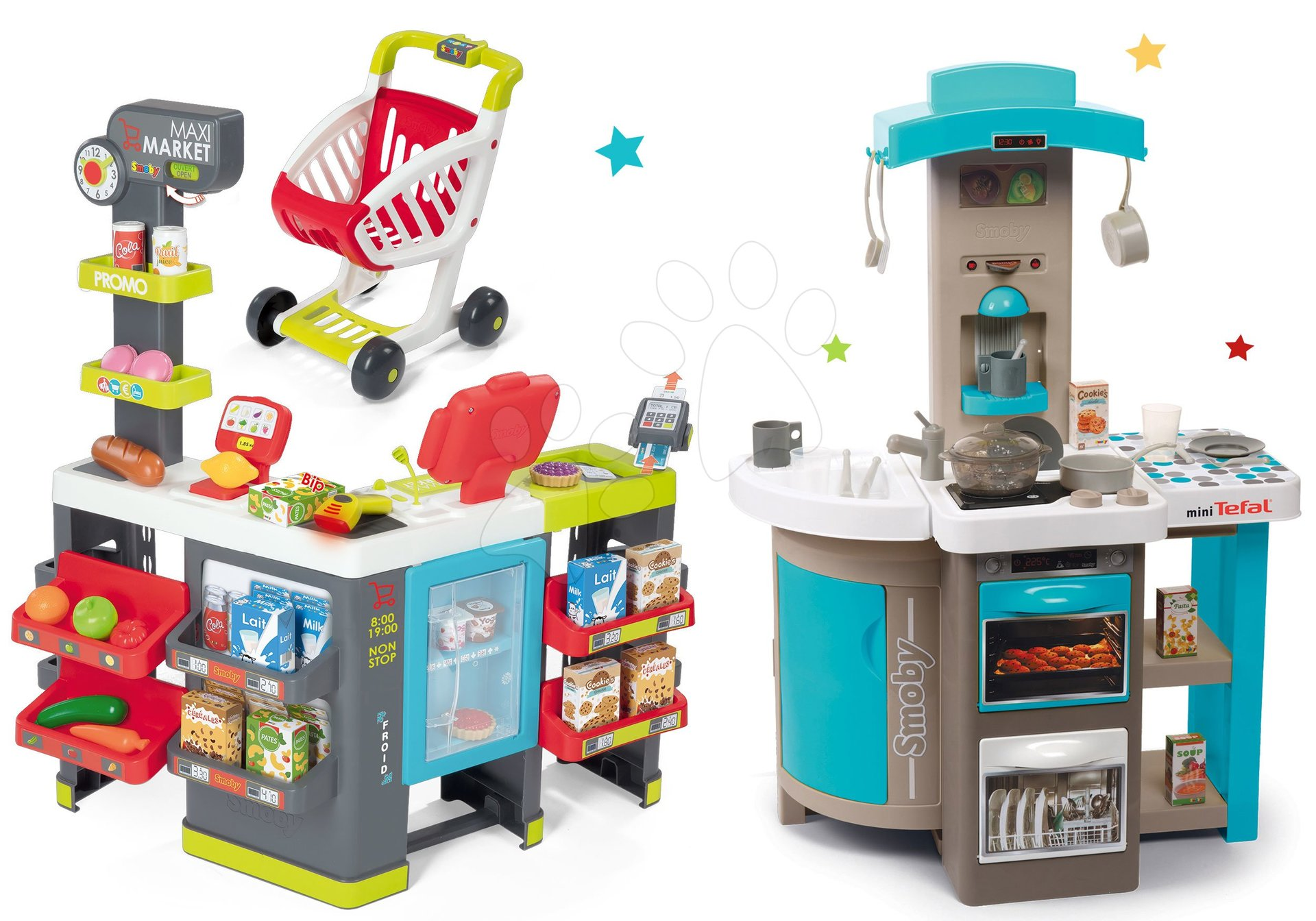 Set kuchynka skladacia Tefal Opencook Bubble Smoby modrá s magickým bublaním a kávovarom a obchod Maxi Market elektronický