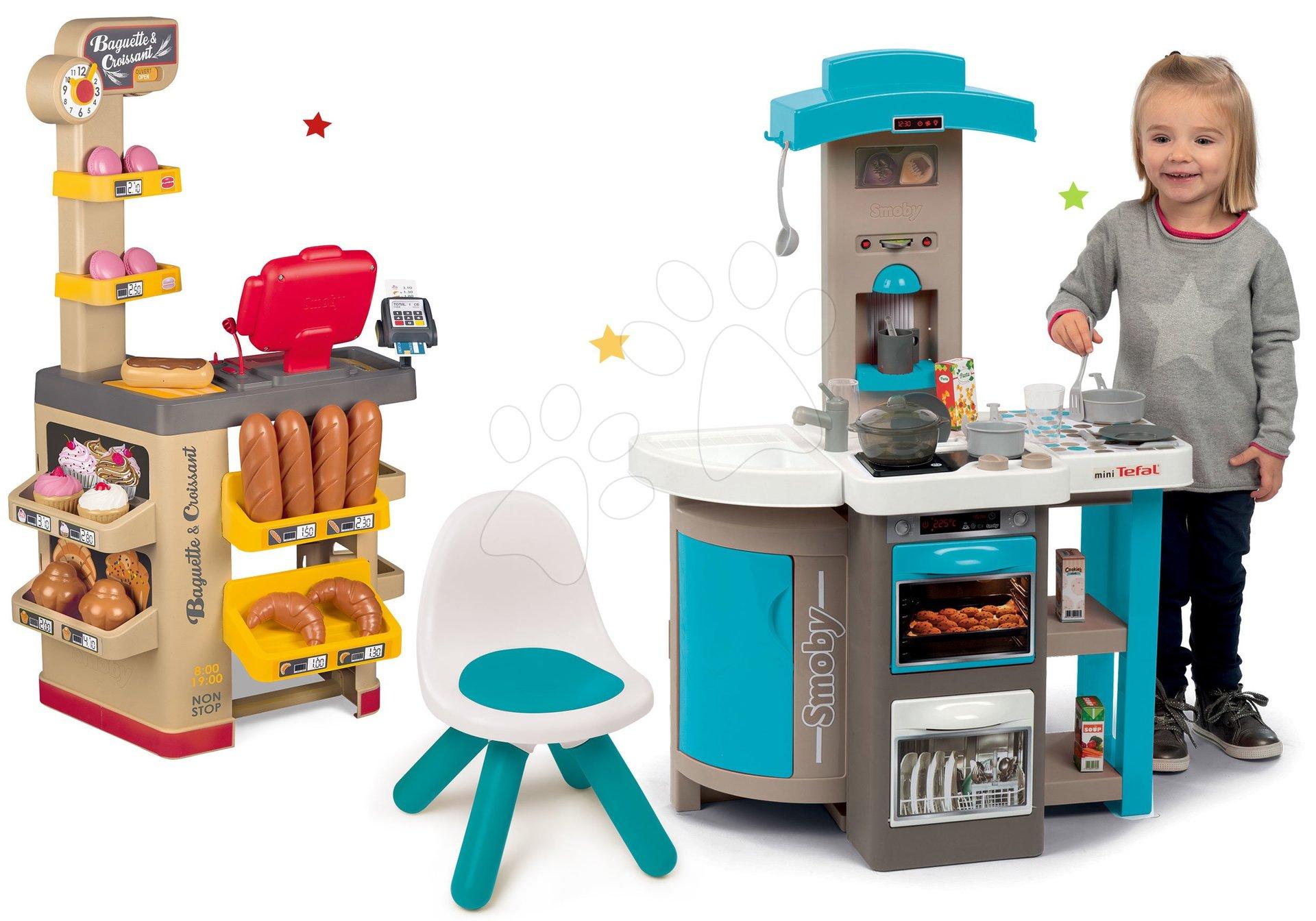 Set kuchynka skladacia Tefal Opencook Bubble Smoby modrá s magickým bublaním a kávovarom a pekáreň Bageteria s koláčmi a stoličkou