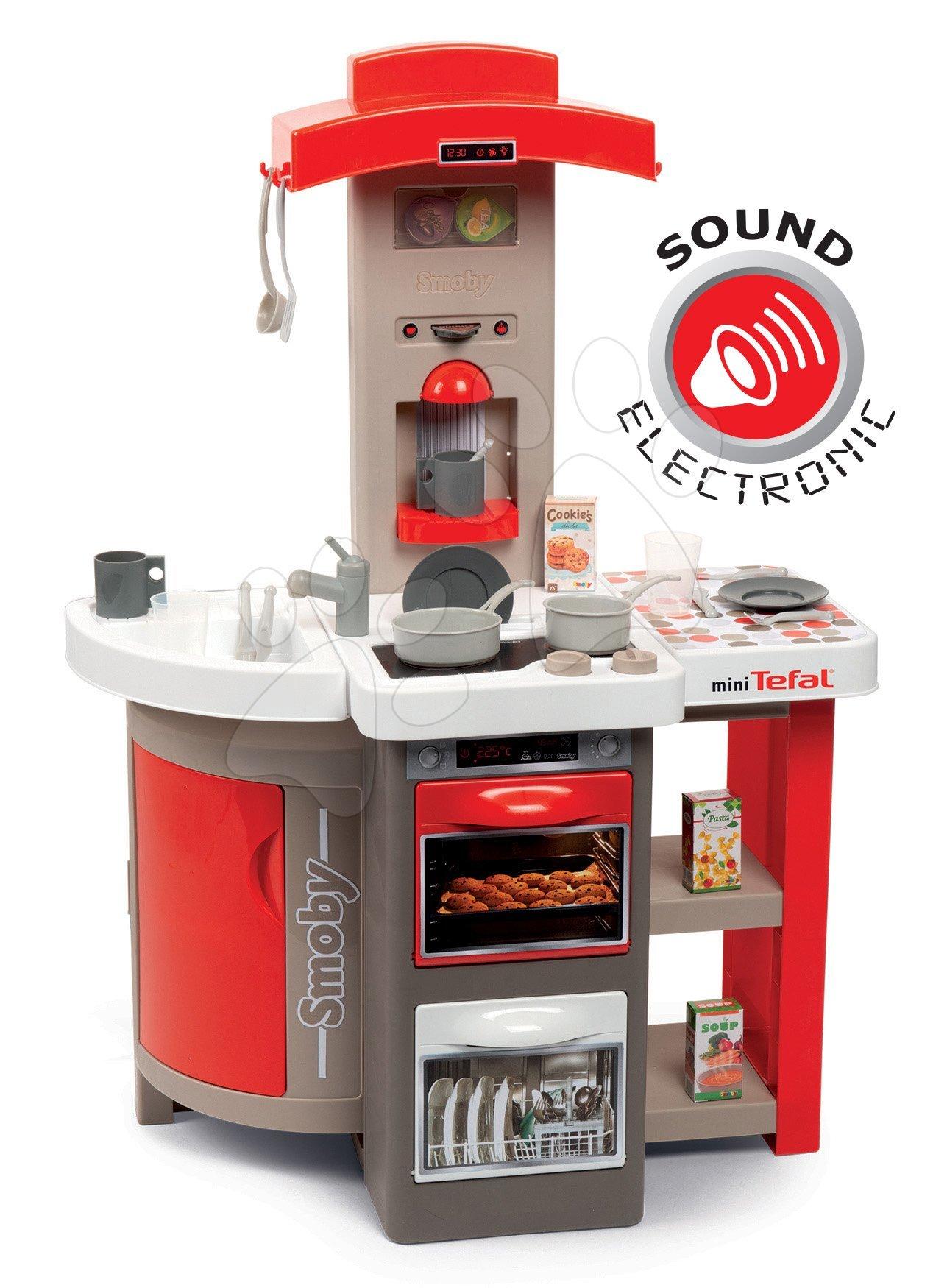 Kuchyňka skládací elektronická Tefal Opencook Smoby červená s kávovarem a chladničkou a 22 doplňků