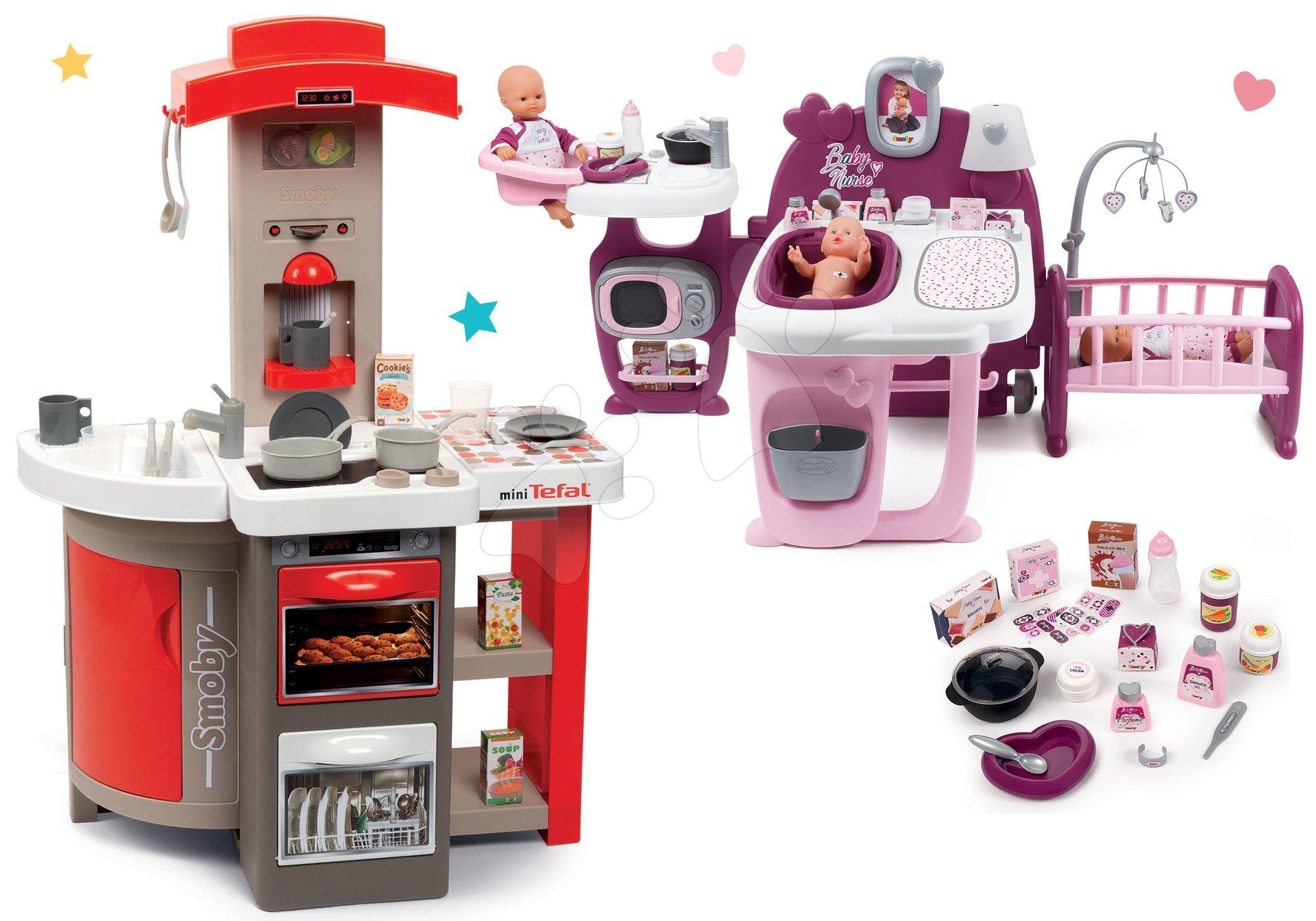 Set kuchynka skladacia elektronická Tefal Opencook Smoby červená s kávovarom a chladničkou a domček pre bábiky Baby Nurse trojkrídlový