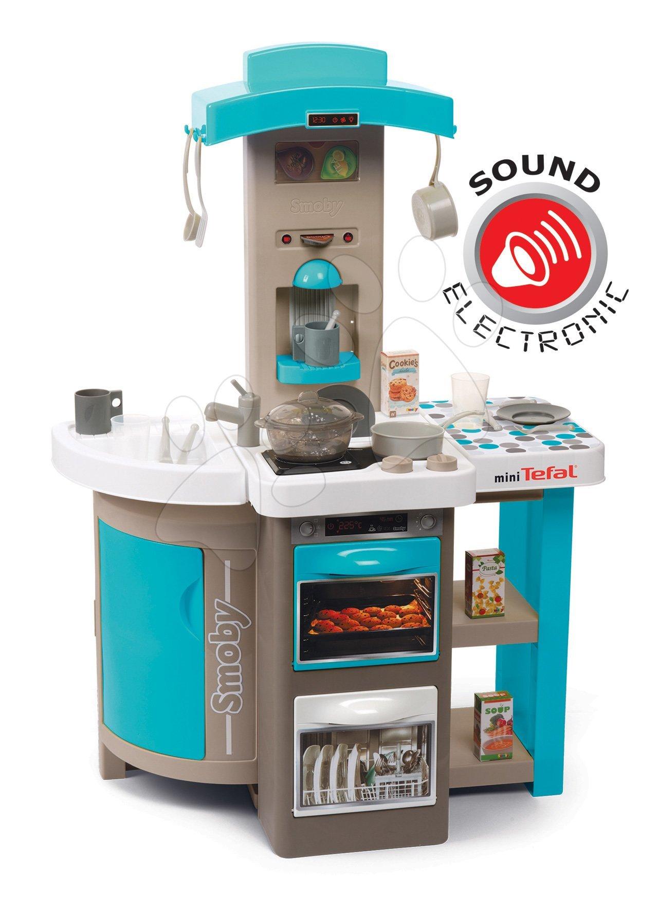 Kuchynka skládací elektronická Tefal Opencook Bubble Smoby tyrkysová se zvukem, magickým bubláním a kávovarem a 24 doplňků