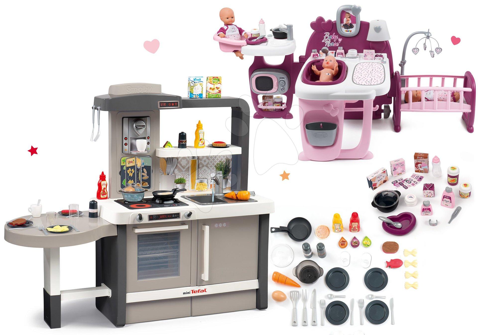 Set kuchynka rastúca s tečúcou vodou Tefal Evolutive Smoby a domček pre bábiku Violette Baby Nurse Large Doll's Play Center