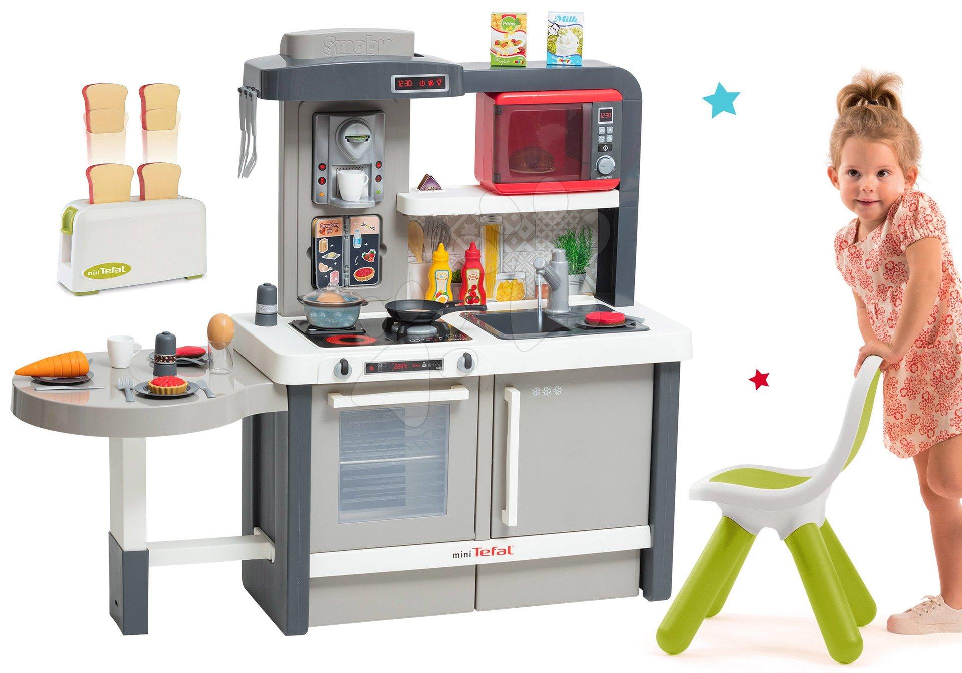 Kuchynky pre deti sety - Set kuchynka rastúca s tečúcou vodou Tefal Evolutive Smoby a mikrovlnka Tefal s hriankovačom a stoličkou KidChair