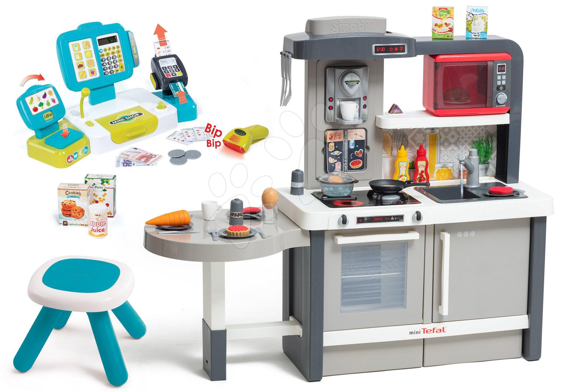 Set kuchynka rastúca s tečúcou vodou Tefal Evolutive Smoby a pokladňa elektronická so stolčekom Kid