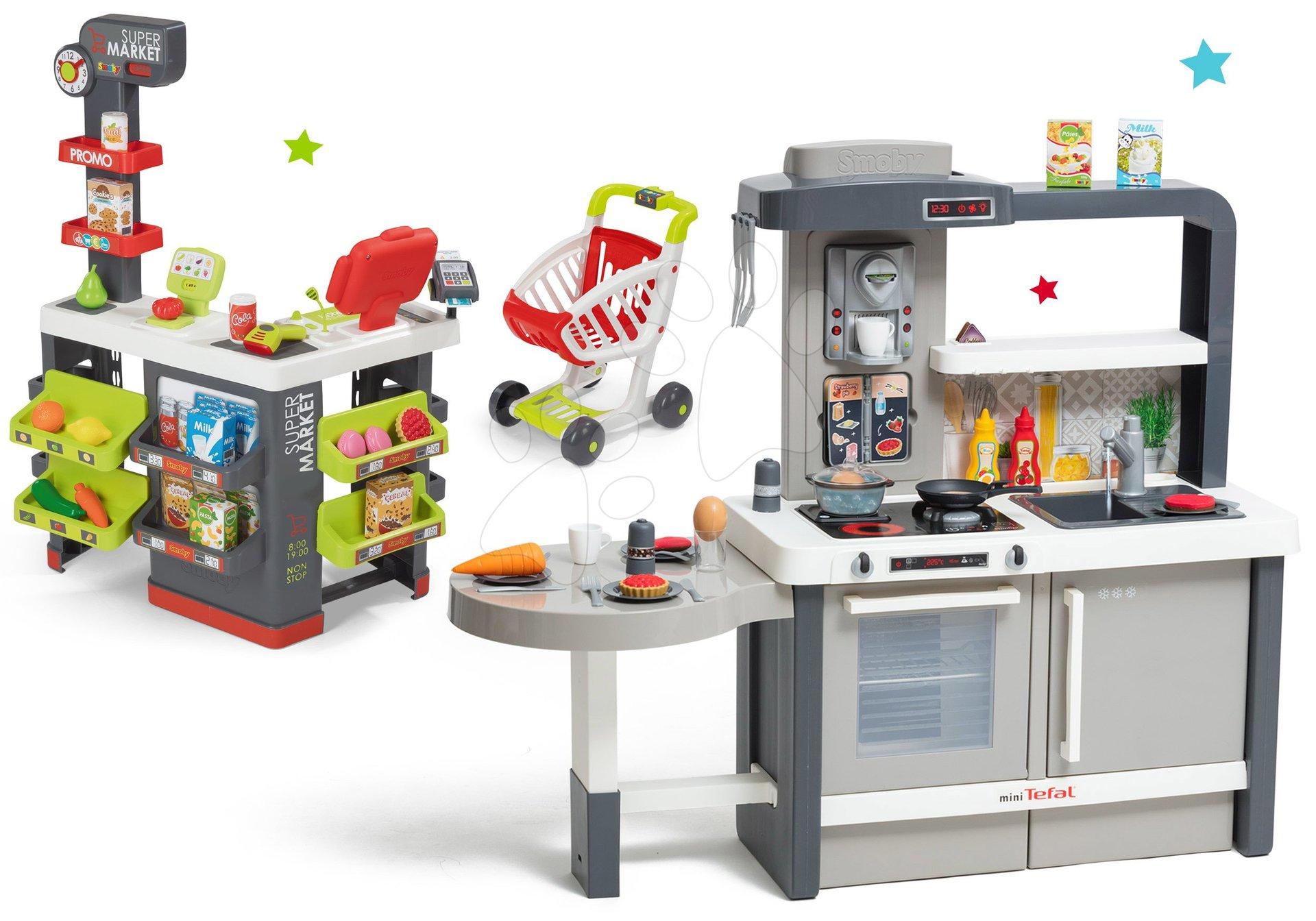 Set kuchyňka rostoucí s tekoucí vodou Tefal Evolutive Smoby a supermarket s elektronickou pokladnou, čtečkou a vozíkem