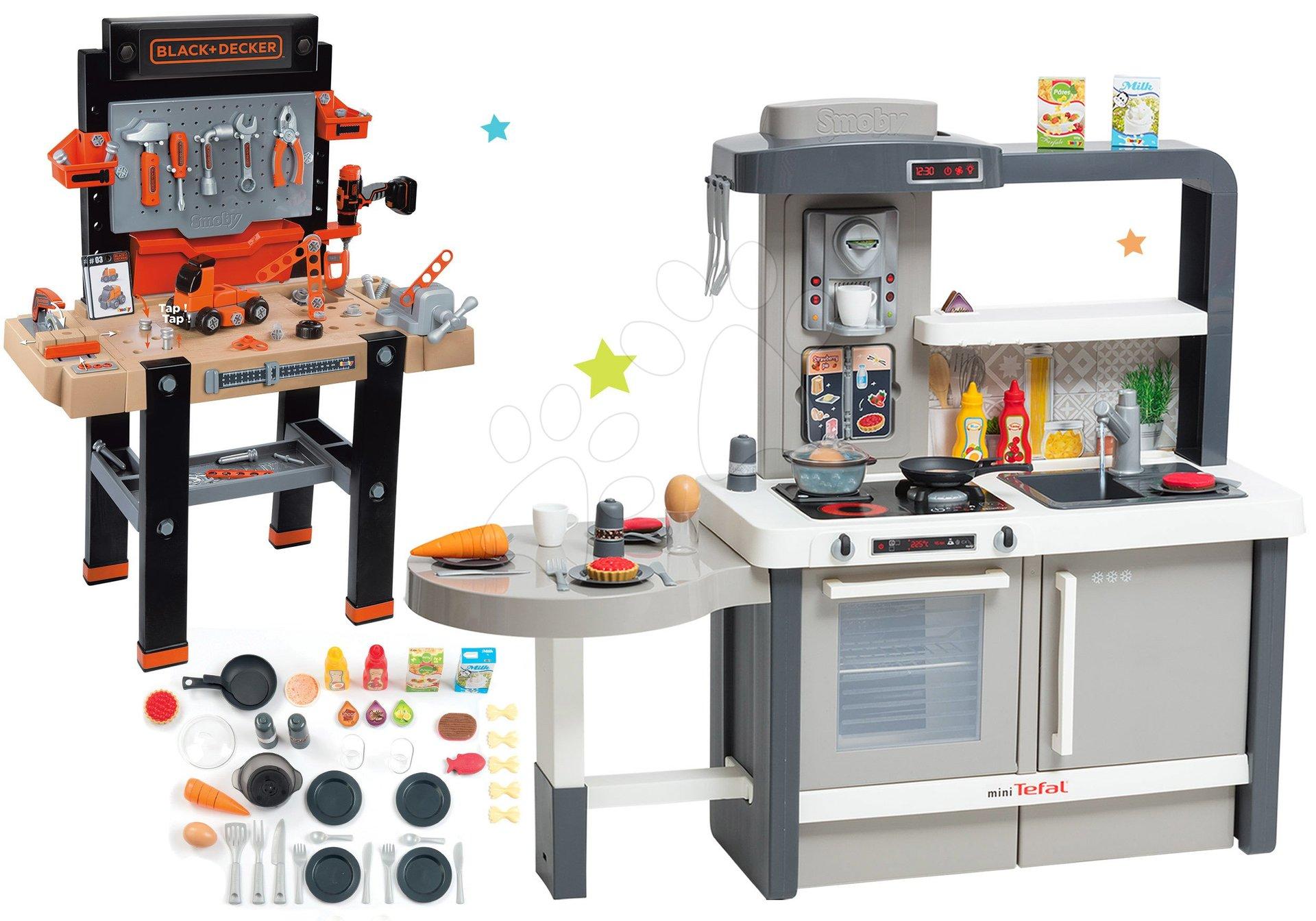 Set kuchynka rastúca s tečúcou vodou Tefal Evolutive Smoby a pracovná dielňa Black+Decker elektronická s vŕtačkou