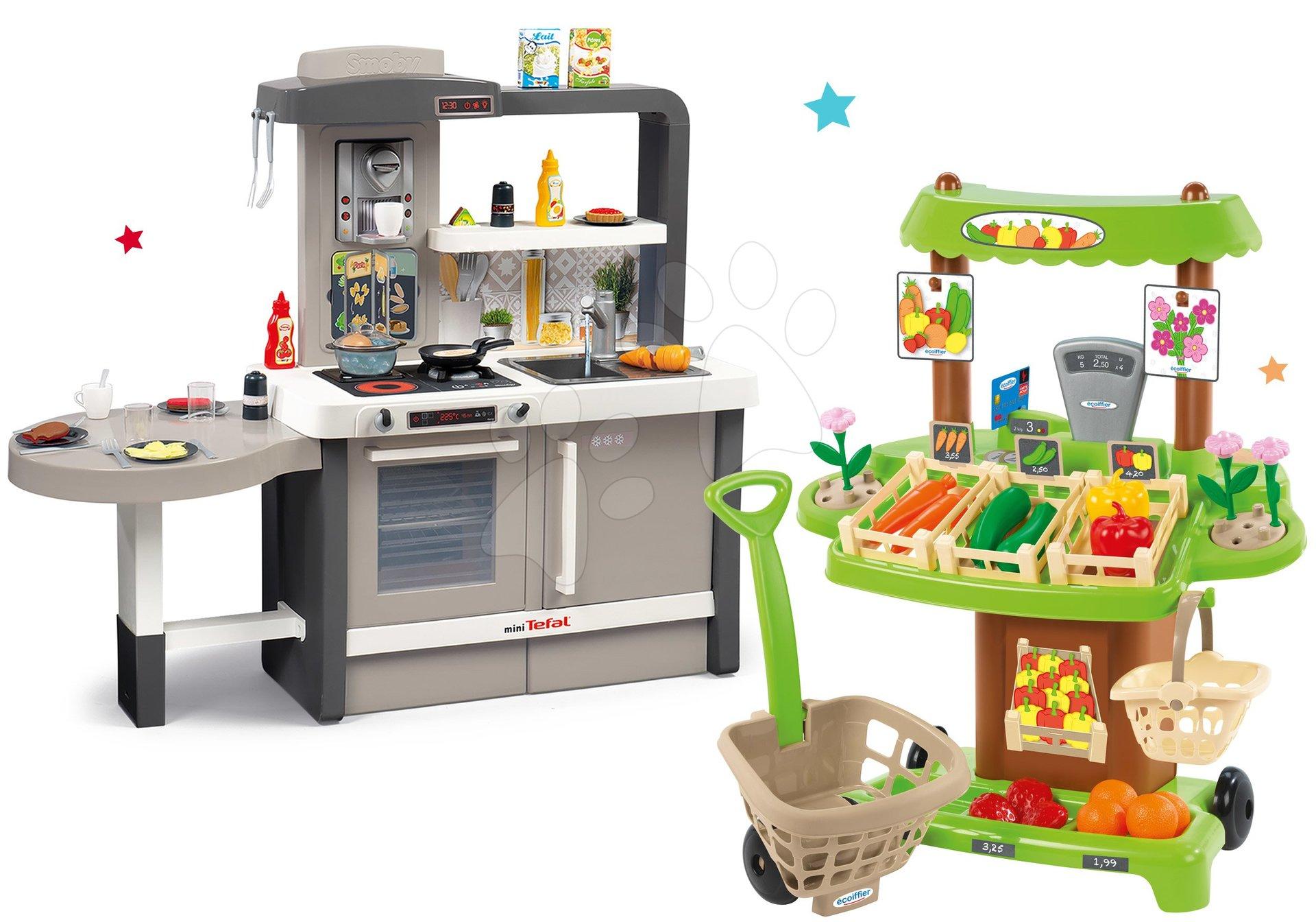 Set kuchynka rastúca s tečúcou vodou Tefal Evolutive Smoby a zeleninový Bio stánok s vozíkom Organic 100% Chef