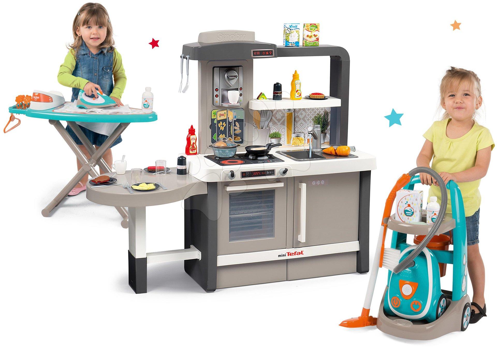Komplet rastoča kuhinja s tekočo vodo Tefal Evolutive Smoby in čistilni voziček s sesalnikom in likalno desko