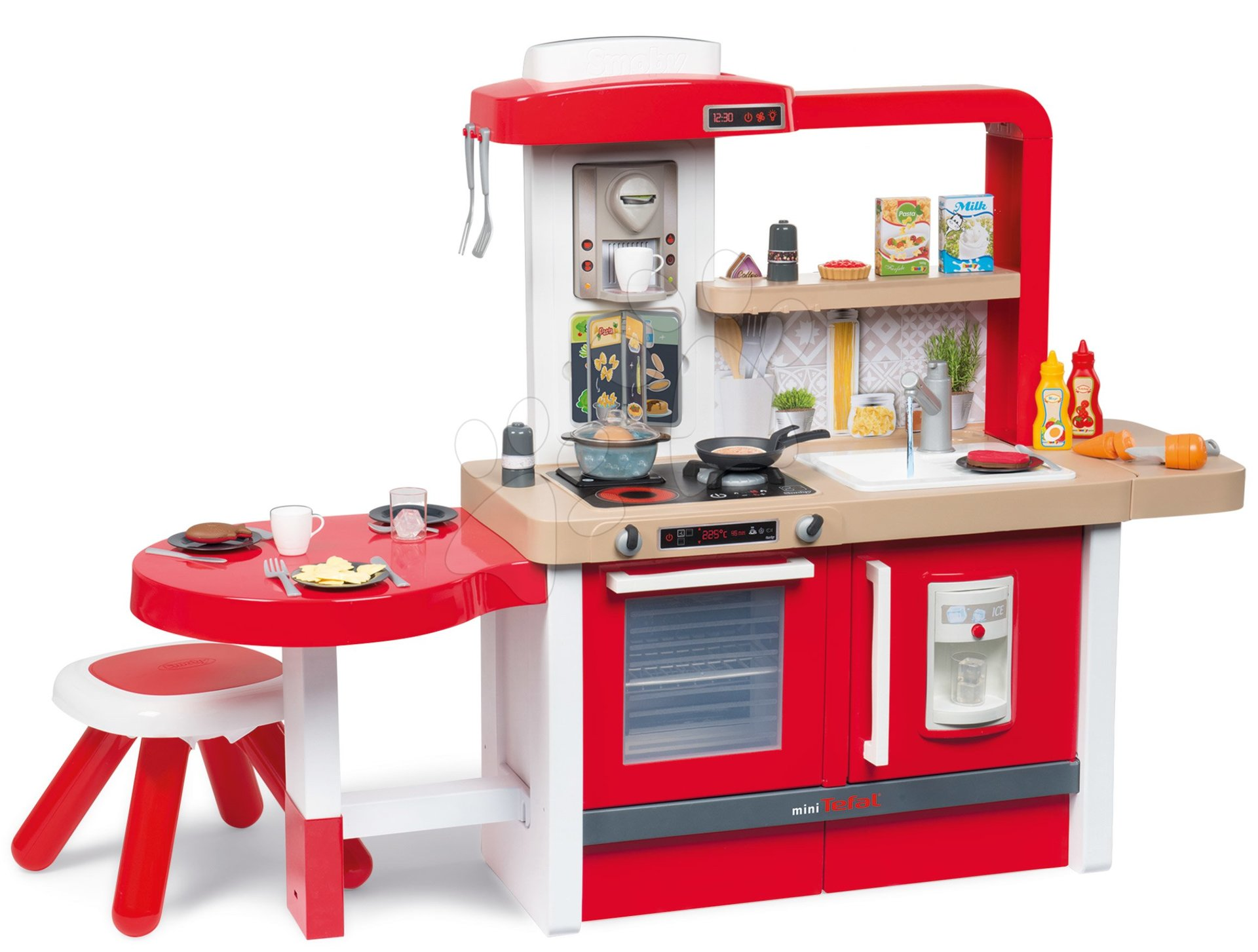 Kuchynka rastúca s tečúcou vodou Tefal Evolutive Grand Chef Smoby červená s magickým bublaním, cestovinami, mrkvou, stoličkou a 43 doplnkov