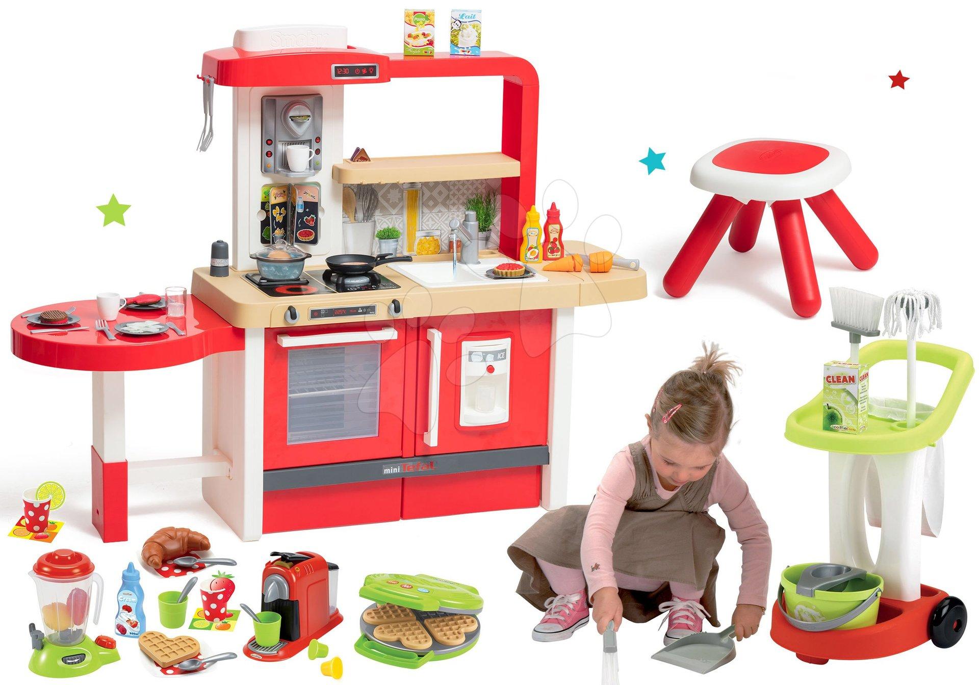 Elektronické kuchynky - Set kuchynka rastúca s tečúcou vodou Tefal Evolutive Grand Chef Smoby a upratovací vozík s vedrom a vaflovač so spotrebičmi a vaflami