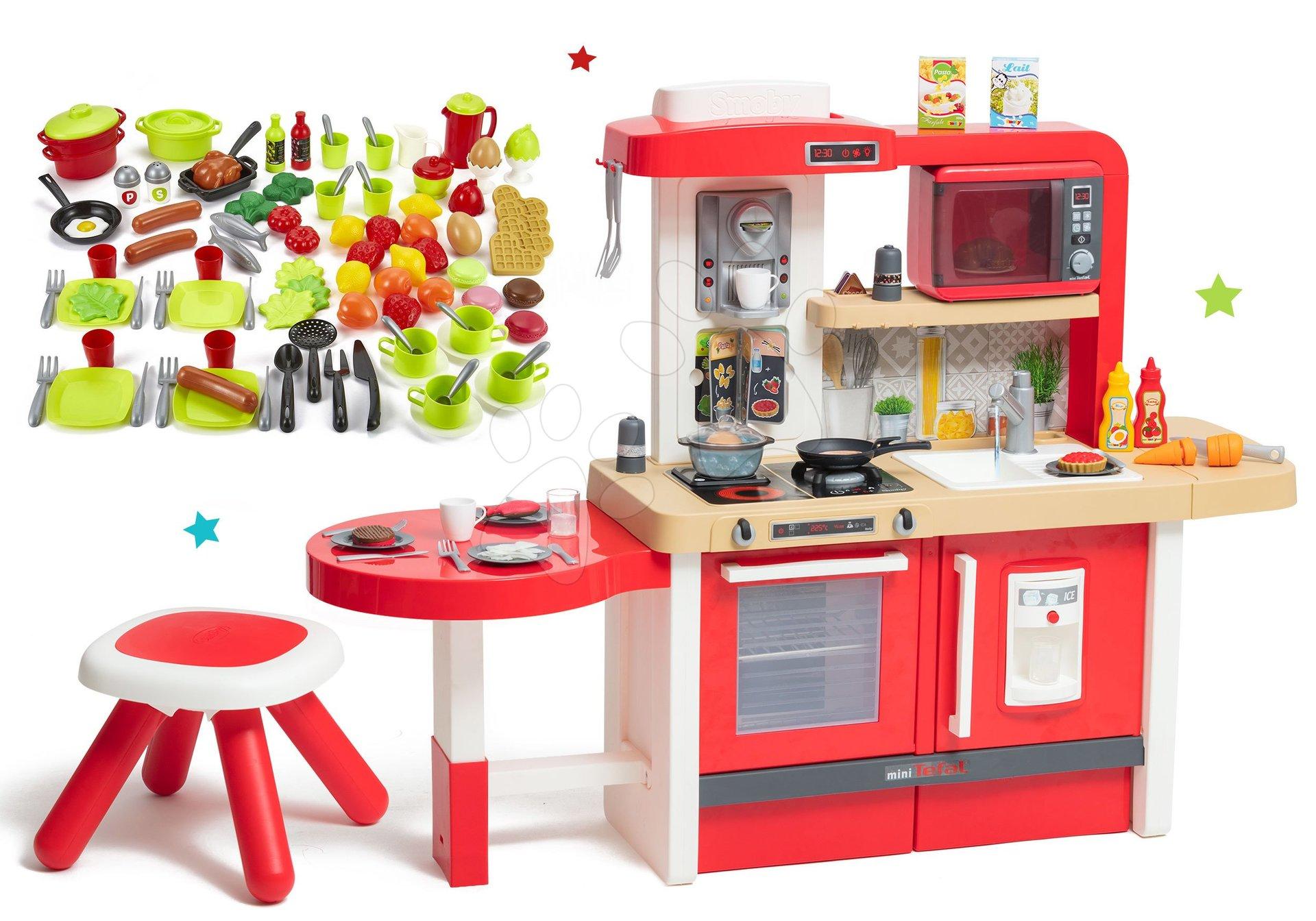 Set kuchyňka rostoucí s tekoucí vodou Tefal Evolutive Grand Chef Smoby a mikrovlnka elektronická a 100 potravin