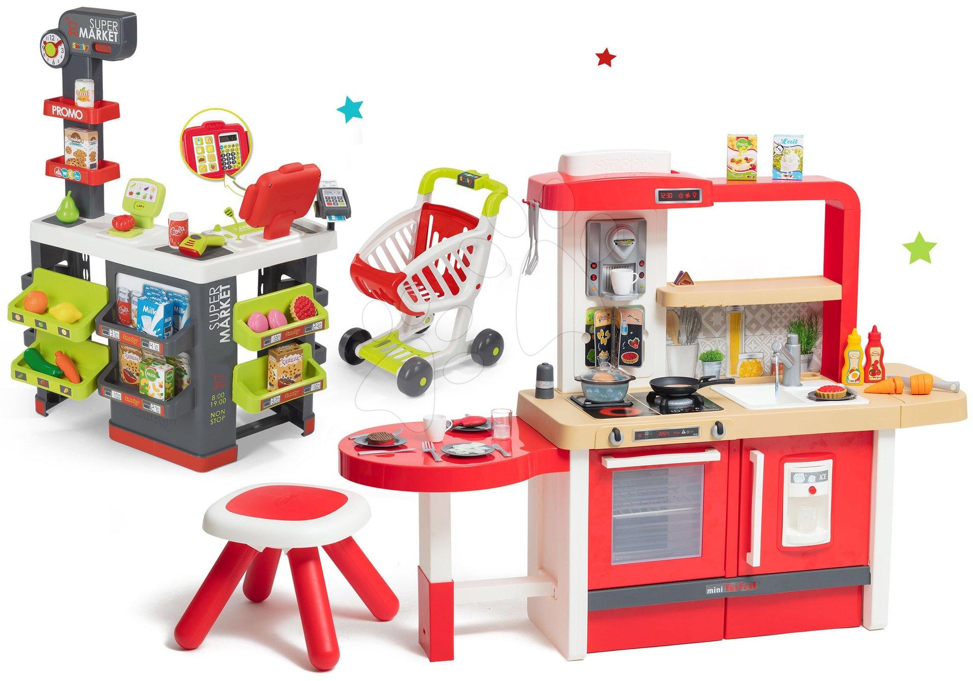 Set kuchyňka rostoucí s tekoucí vodou Tefal Evolutive Grand Chef Smoby a supermarket s elektronickou pokladnou, čtečkou a vozíkem