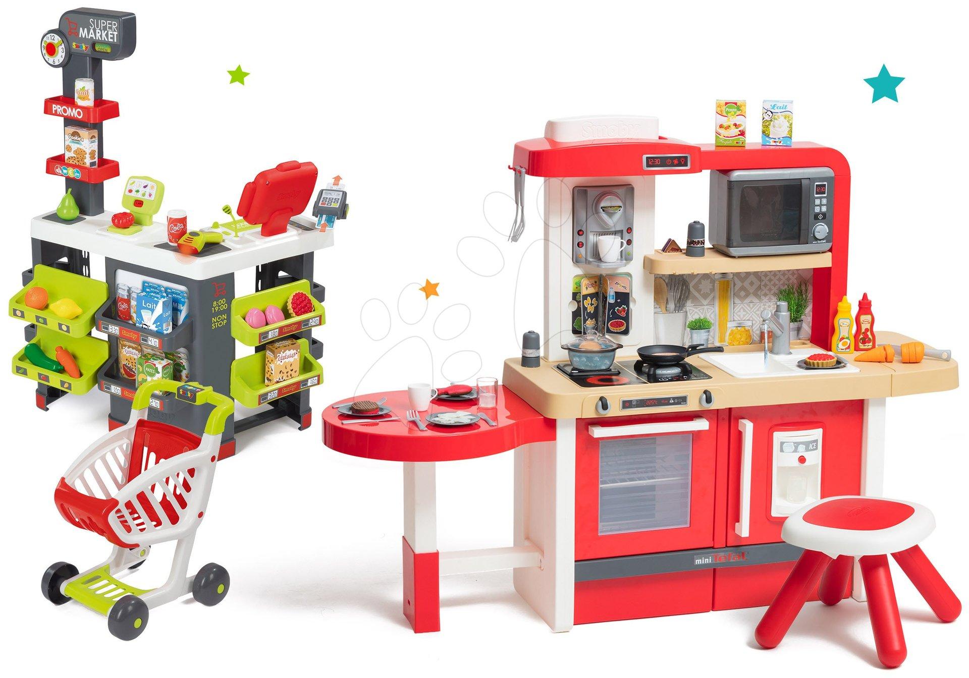 Set kuchynka rastúca s tečúcou vodou a mikrovlnkou Tefal Evolutive Smoby a obchod s vozíkom Supermarket