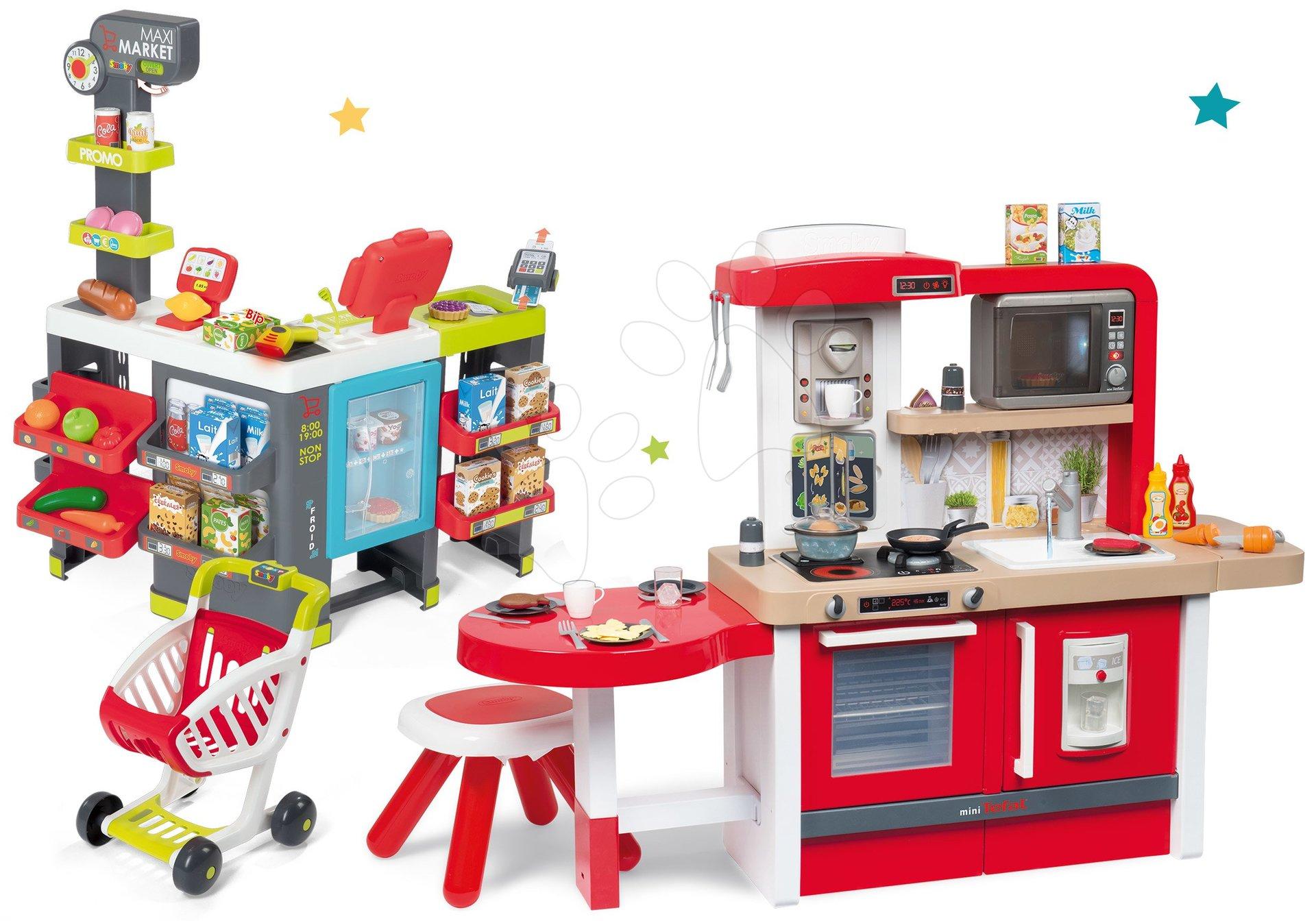 Set kuchynka rastúca s tečúcou vodou a mikrovlnkou Tefal Evolutive Smoby a obchod Maxi Market s elektronickými funkciami