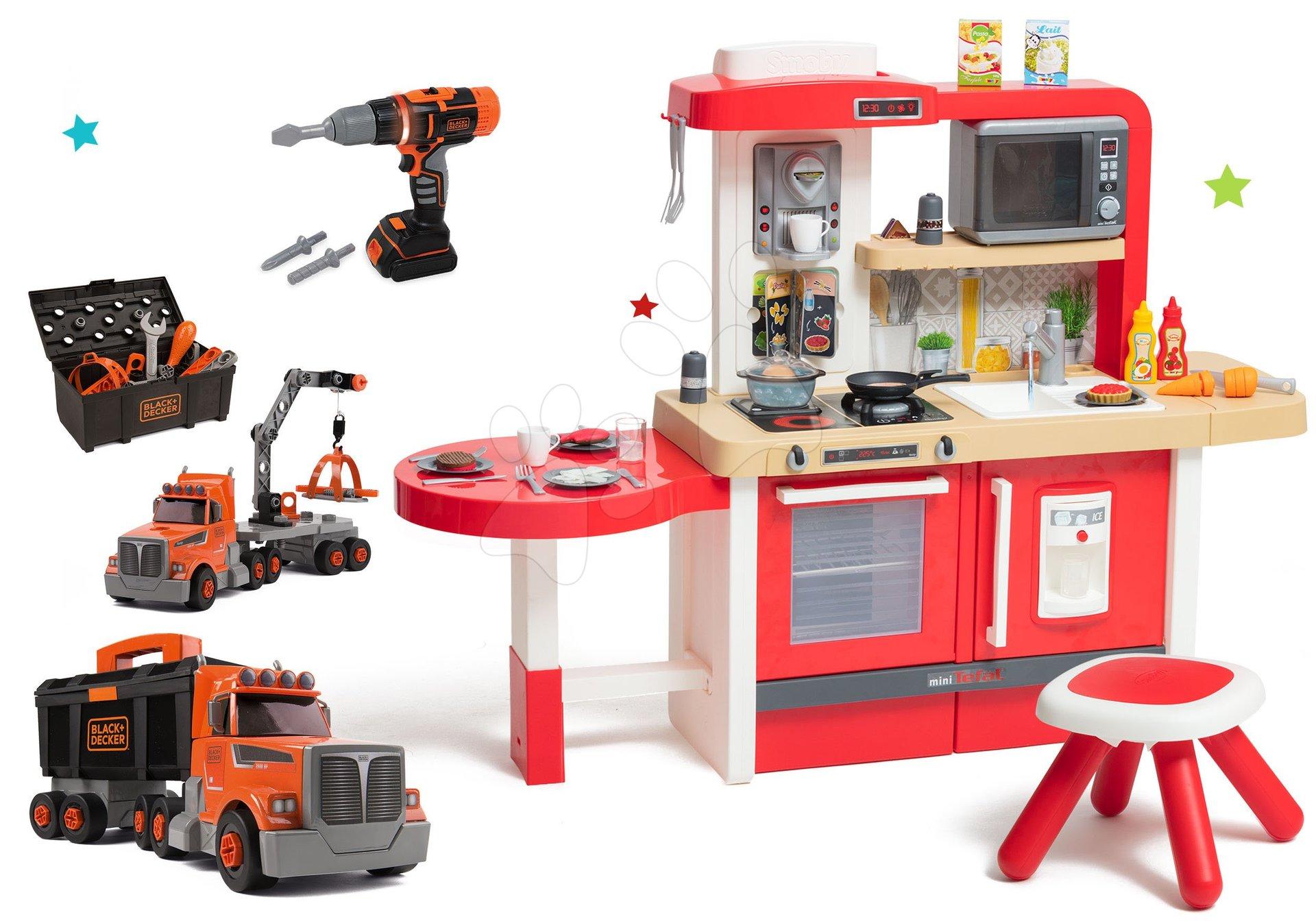 Set kuchynka rastúca s tečúcou vodou a mikrovlnkou Tefal Evolutive Smoby a kamión s pracovným kufríkom Black&Decker a elektronickou vŕtačkou