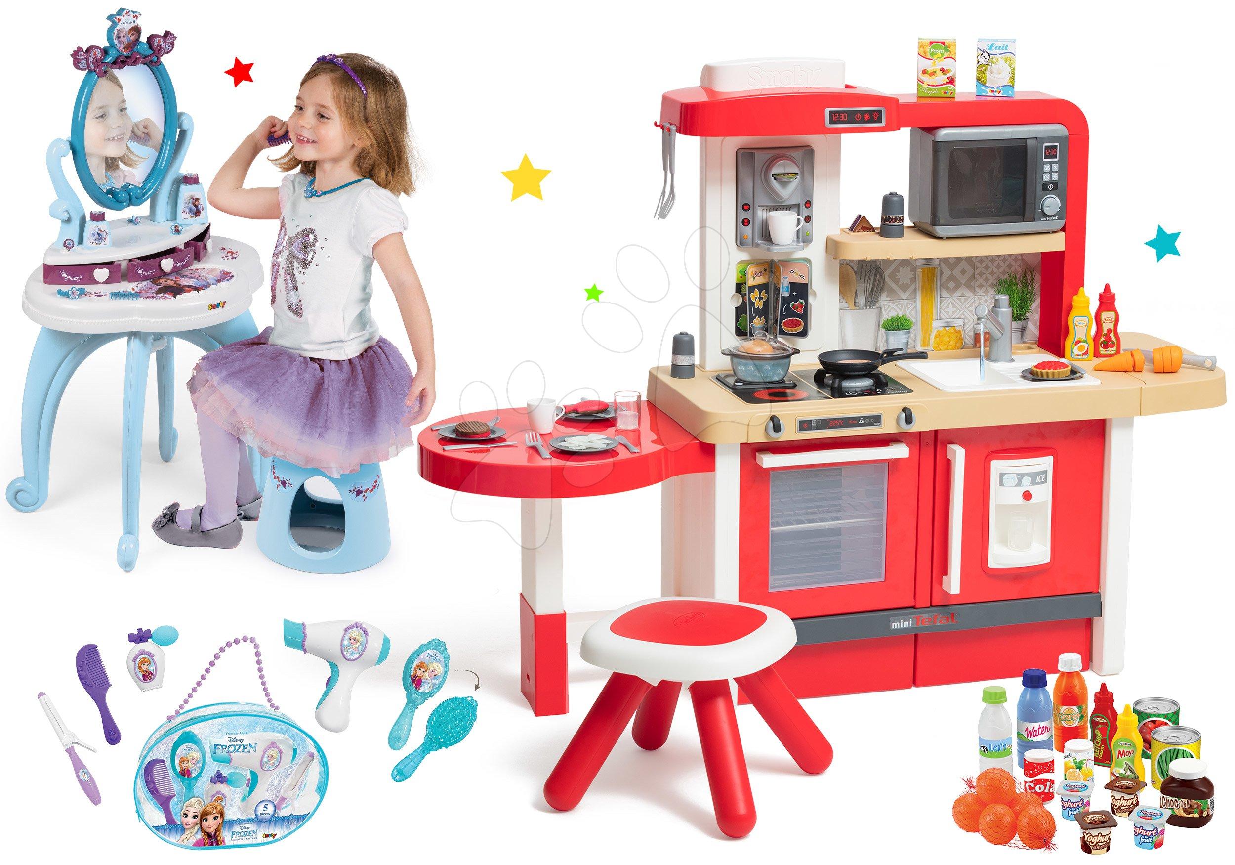 Set kuchynka rastúca s tečúcou vodou a mikrovlnkou Tefal Evolutive Smoby a kozmetický stolík Frozen s taštičkou pre kaderníčku a potravinami