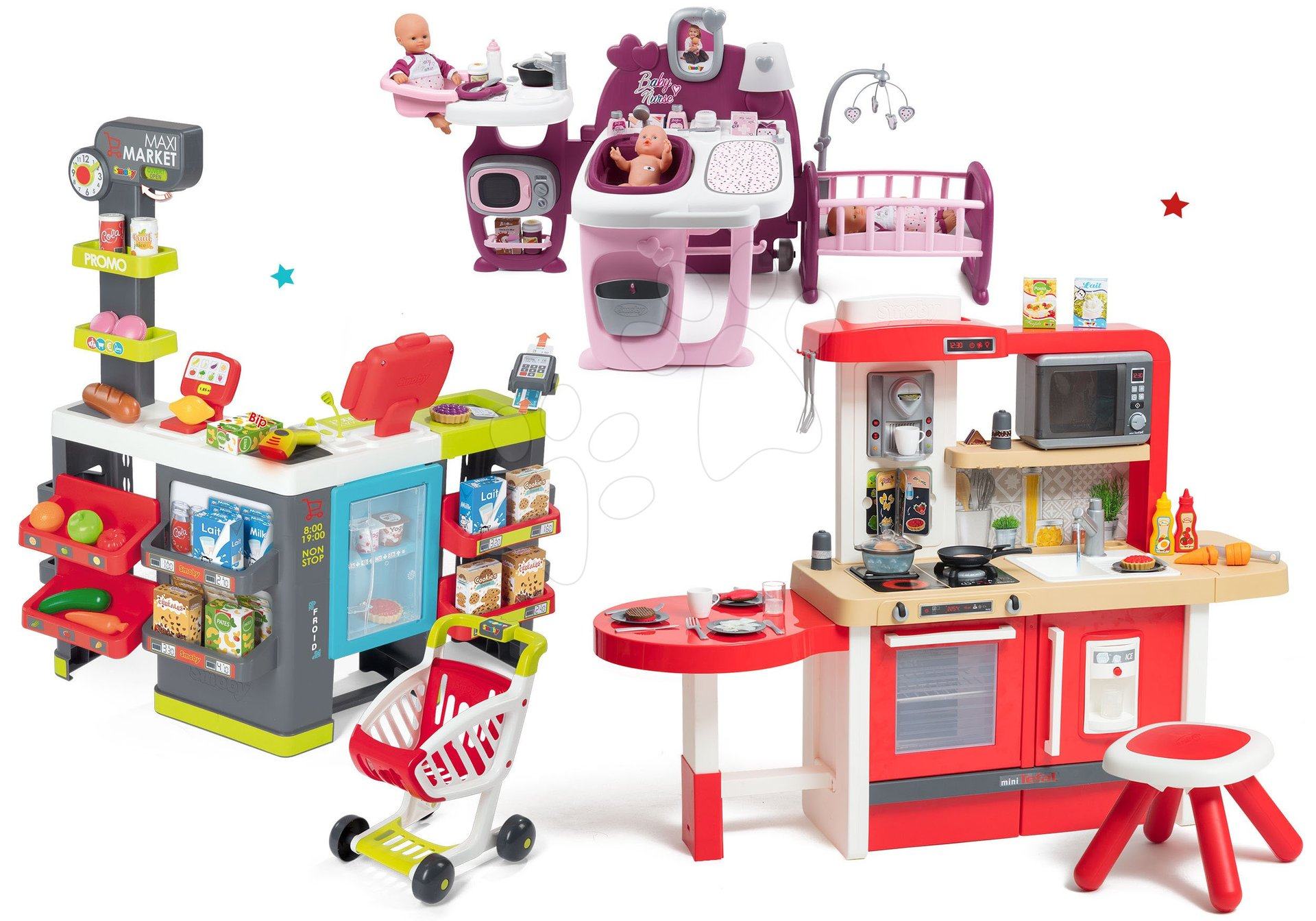 Set bucătărie de jucărie, care crește împreună cu vârsta cu apă curgătoare și microunde Tefal Evolutive Smoby și centru bebe Violette Baby Nurse și supermarket Maxi Market cu funcții electronice