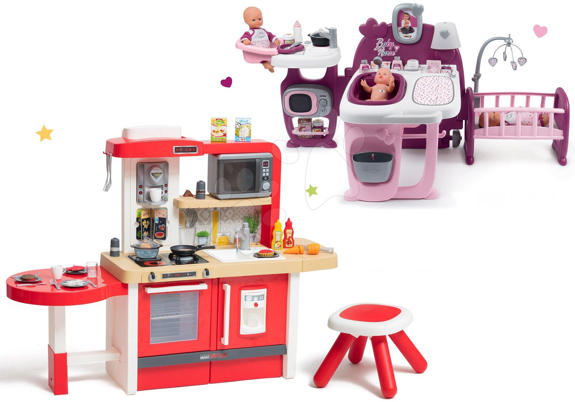 Set kuchynka rastúca s tečúcou vodou a mikrovlnkou Tefal Evolutive Smoby a domček pre bábiku Violette Baby Nurse Large Doll's Play Center