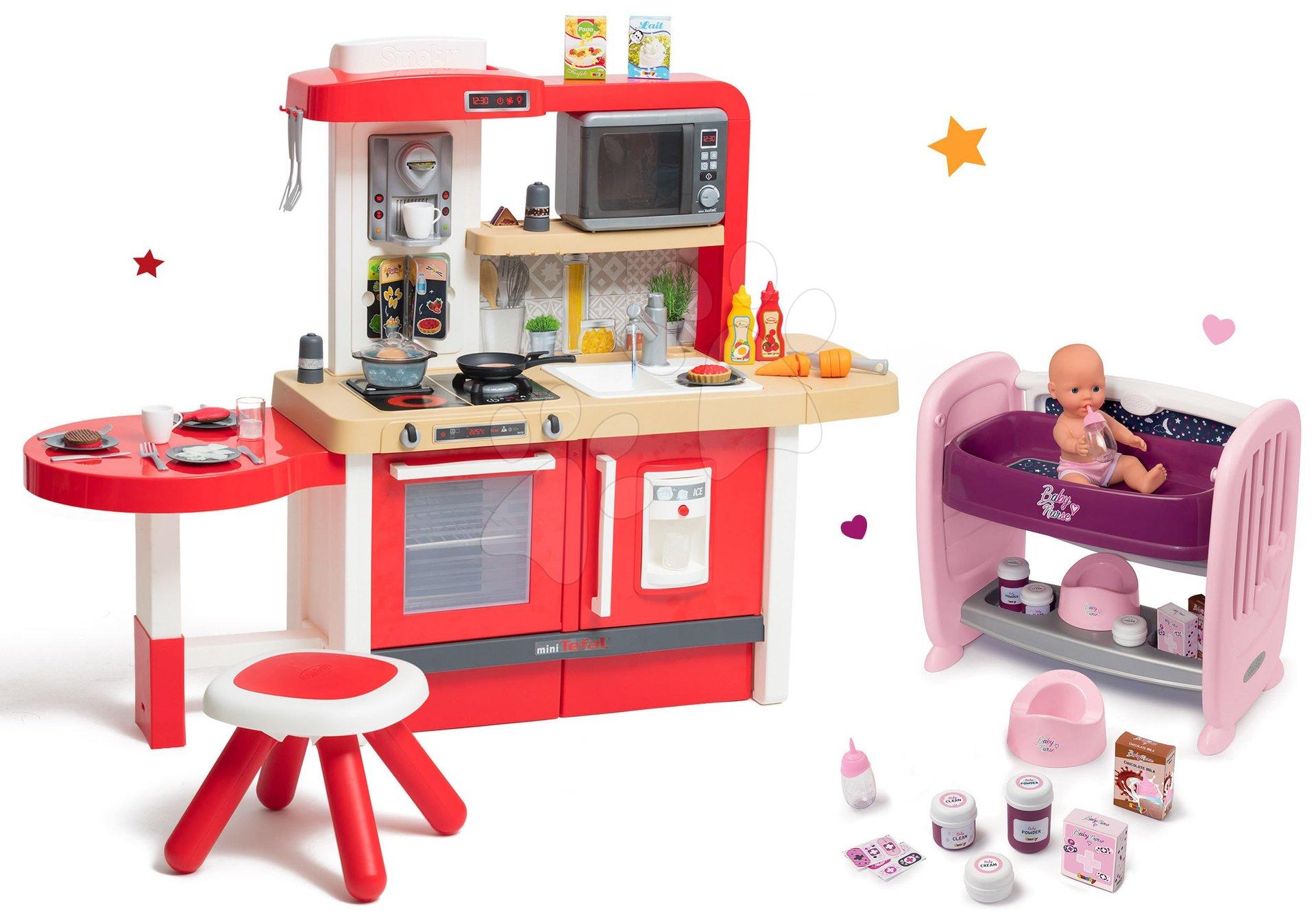 Set kuchynka rastúca s tečúcou vodou a mikrovlnkou Tefal Evolutive Smoby a postieľka k posteli s pultom na prebaľovanie Violette Baby Nurse