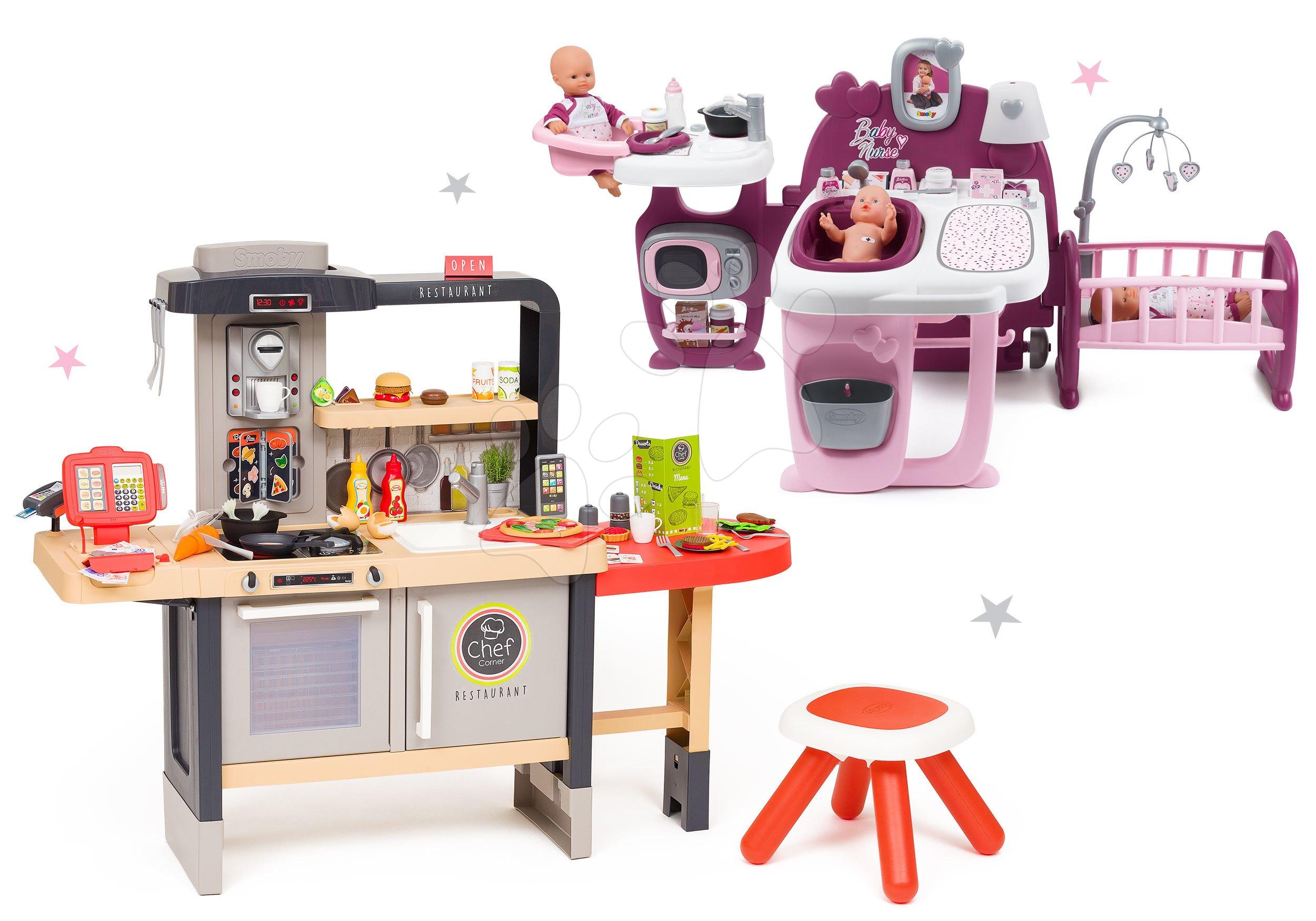 Restaurace s elektronickou kuchyňkou Chef Corner Restaurant Smoby s přebalovacím pultem Baby Nurse tříkřídlový