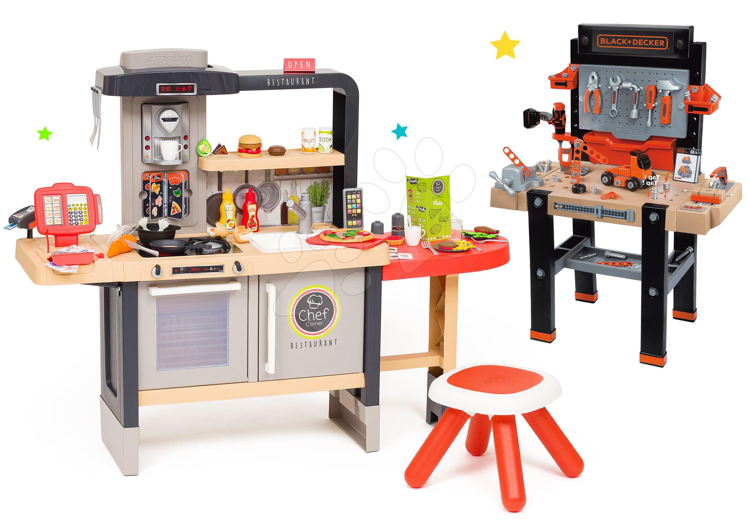 Set reštaurácia s elektronickou kuchynkou Chef Corner Restaurant Smoby s pracovnou dielňou Black&Decker s 95 doplnkami a autíčkom