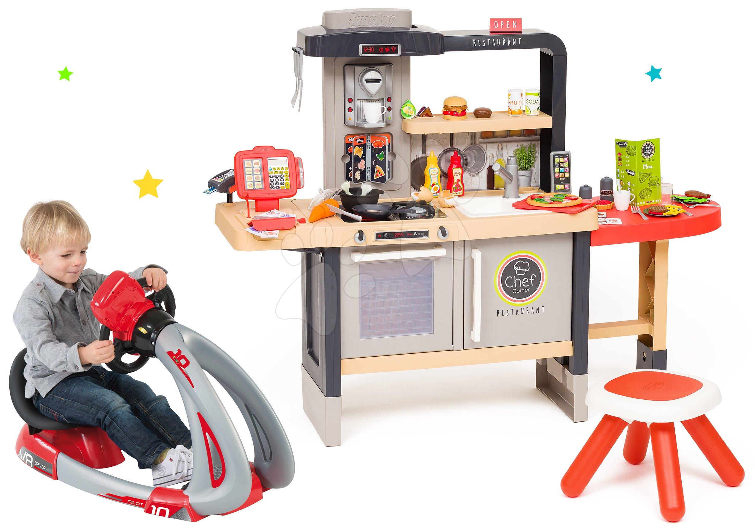 Set reštaurácia s elektronickou kuchynkou Chef Corner Restaurant Smoby a trenažér V8 Driver so zvukom a svetlom