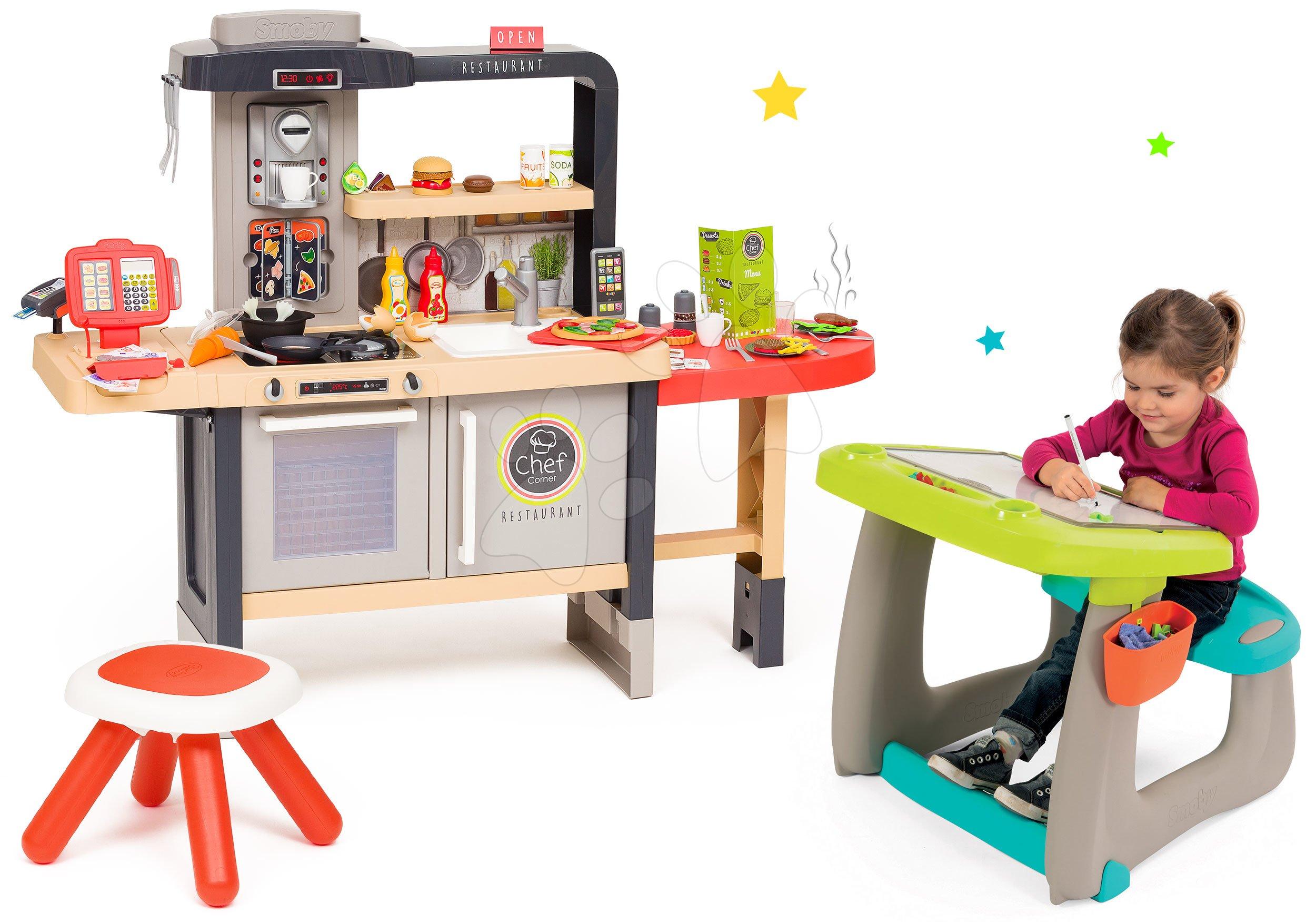 Set reštaurácia s elektronickou kuchynkou Chef Corner Restaurant Smoby a lavica na kreslenie s magnetickou obojstrannou tabuľou