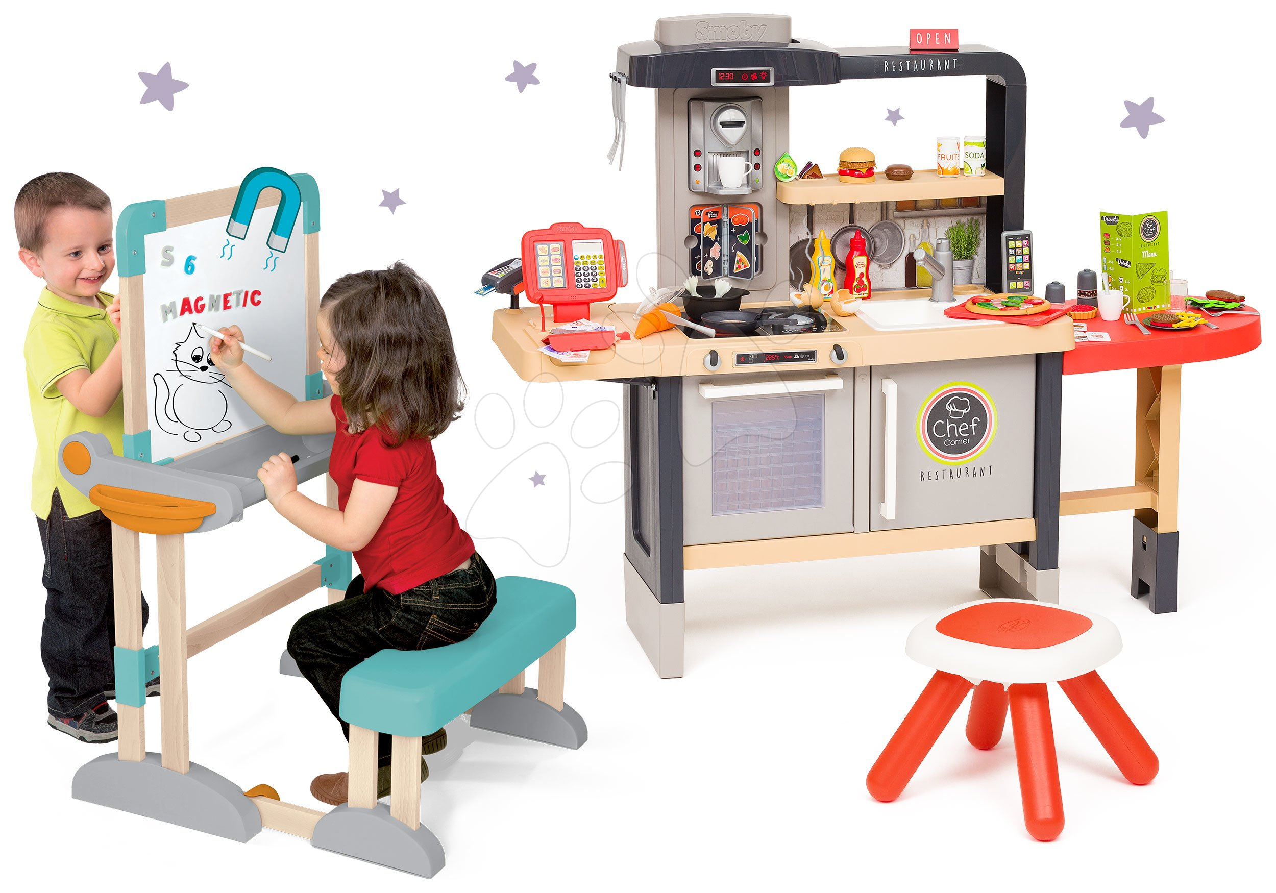 Set reštaurácia s elektronickou kuchynkou Chef Corner Restaurant Smoby a lavica na písanie a kreslenie skladacia s magnetickou tabuľou