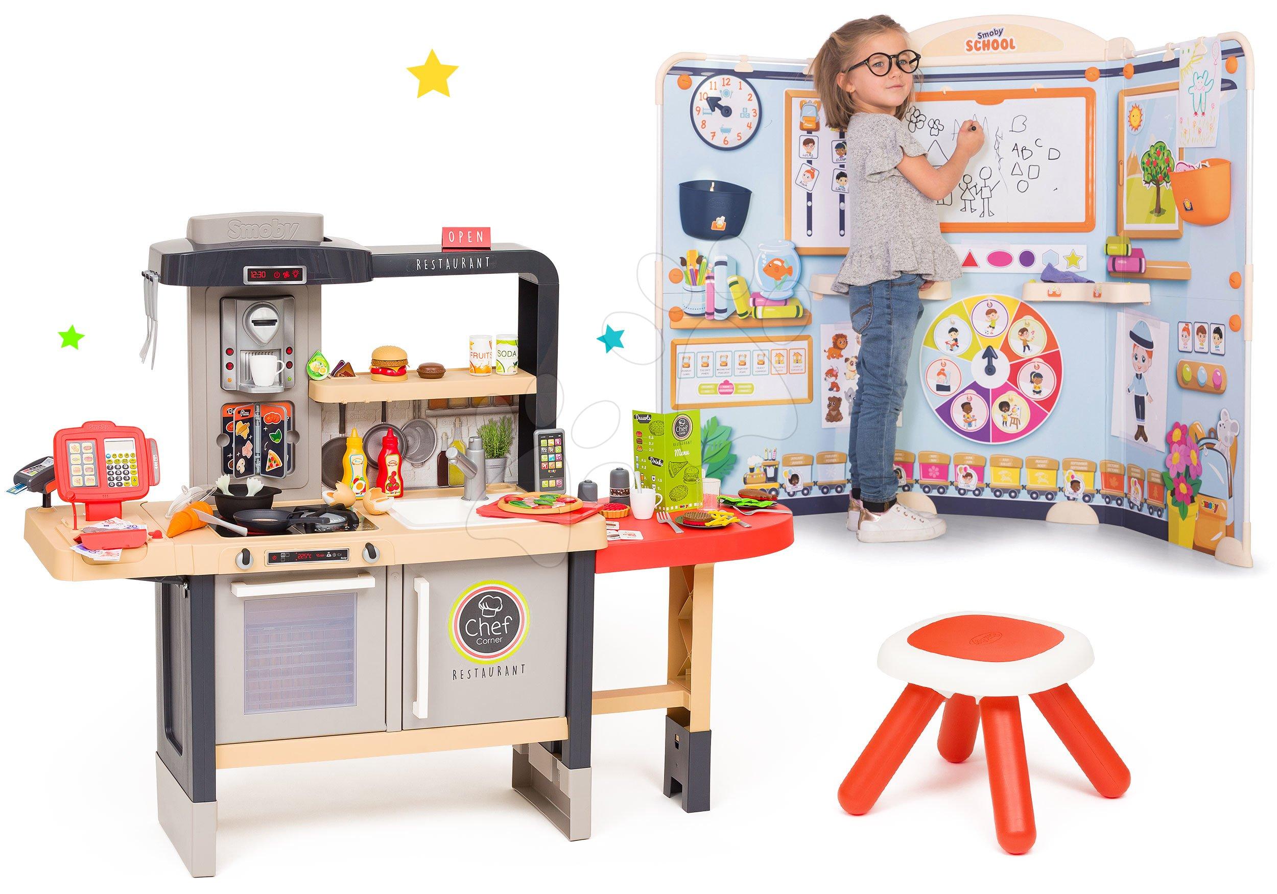 Set reštaurácia s elektronickou kuchynkou Chef Corner Restaurant Smoby s detským kútikom na kreslenie a učenie