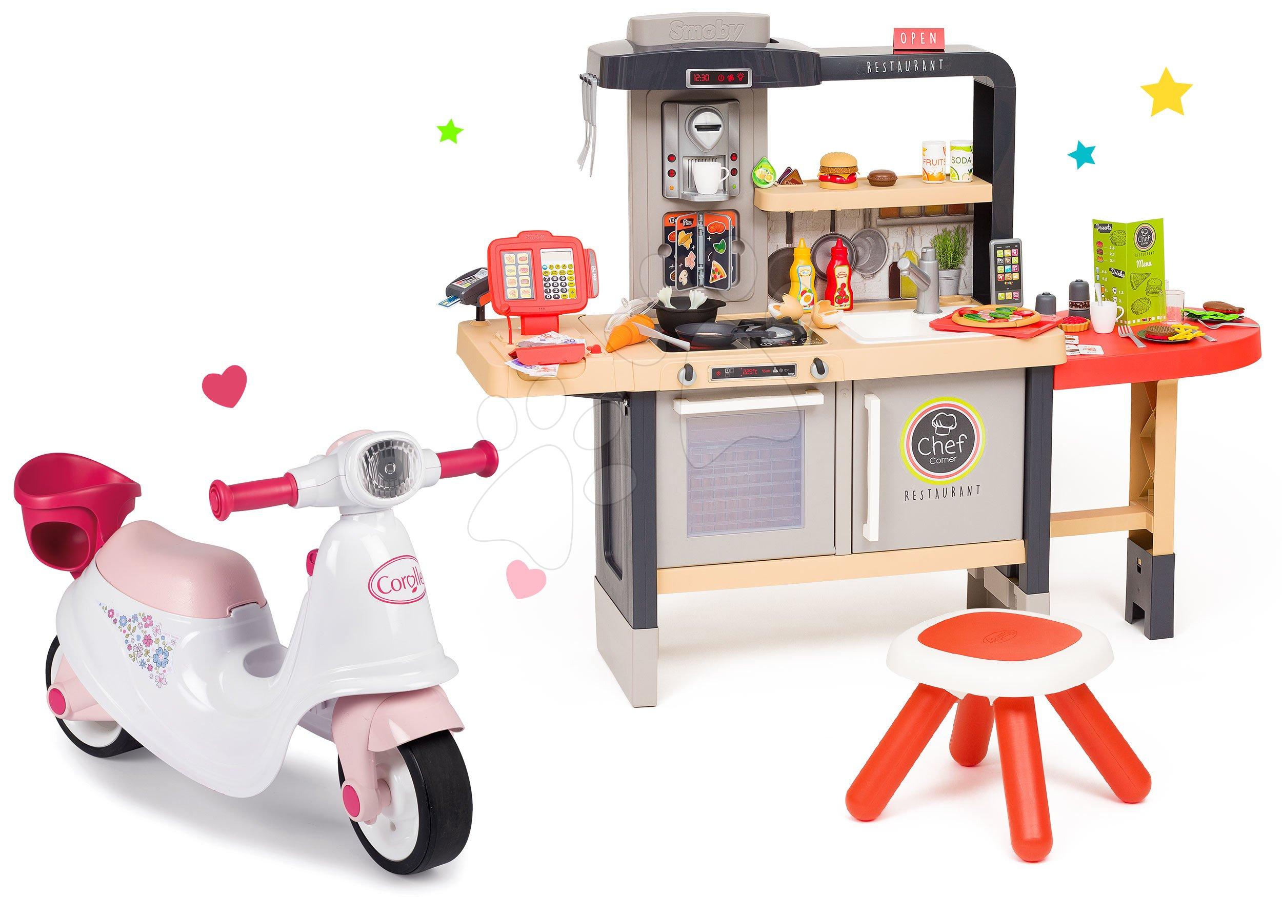 Set reštaurácia s elektronickou kuchynkou Chef Corner Restaurant Smoby a odrážadlo Corolle so sedadlom pre bábiku