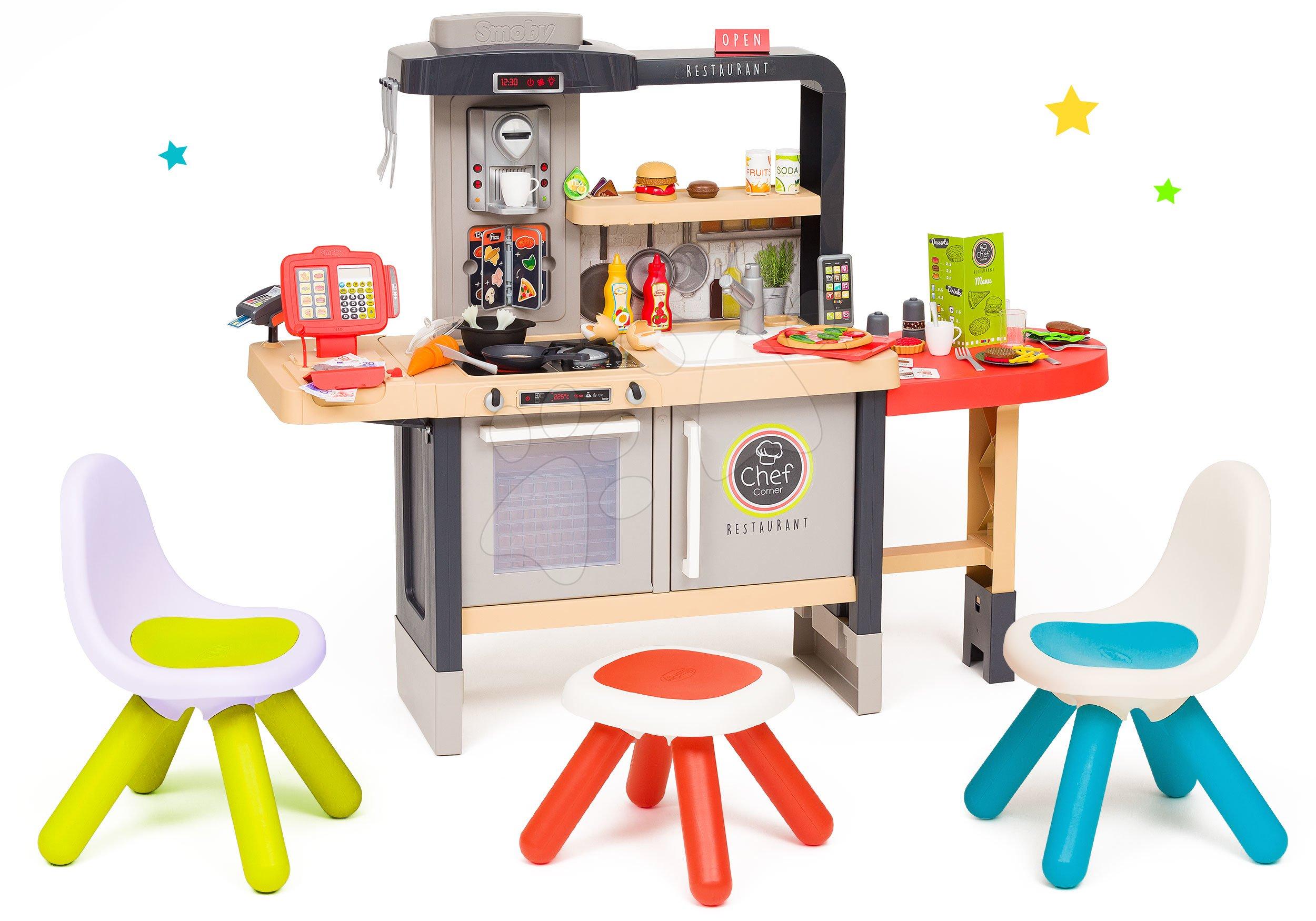 Elektronické kuchynky - Set reštaurácia s elektronickou kuchynkou Chef Corner Restaurant Smoby so zelenou a modrou stoličkou