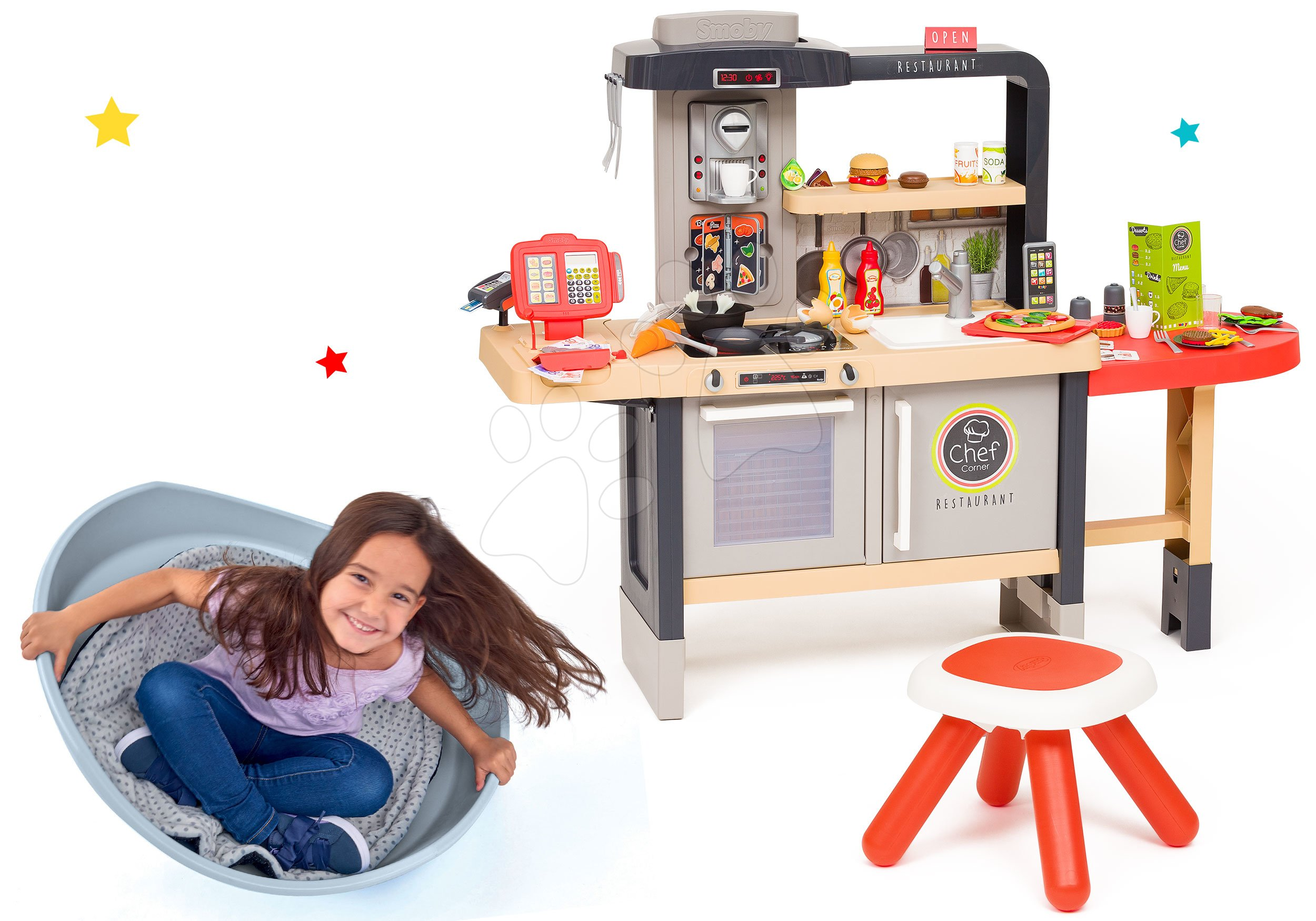 Set reštaurácia s elektronickou kuchynkou Chef Corner Restaurant Smoby a balančný kužel s vankúšom Cosy hojdačka-šmykľavka