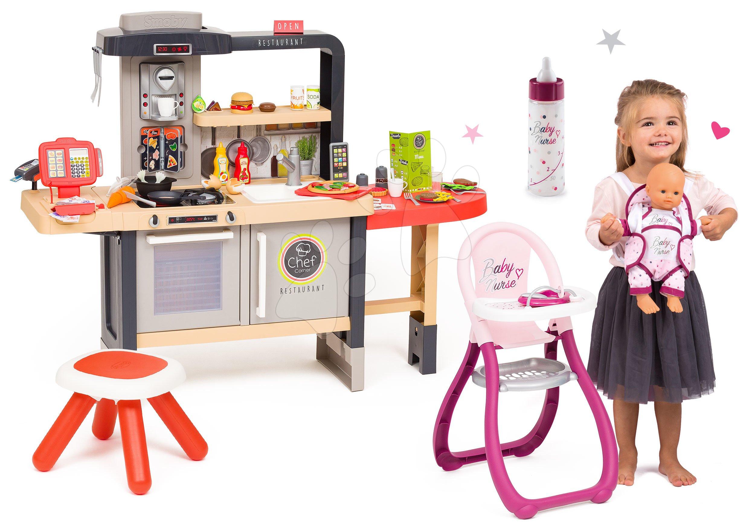 Set reštaurácia s elektronickou kuchynkou Chef Corner Restaurant Smoby s jedálenskou stoličkou a fľaška s nosítkom pre bábiku