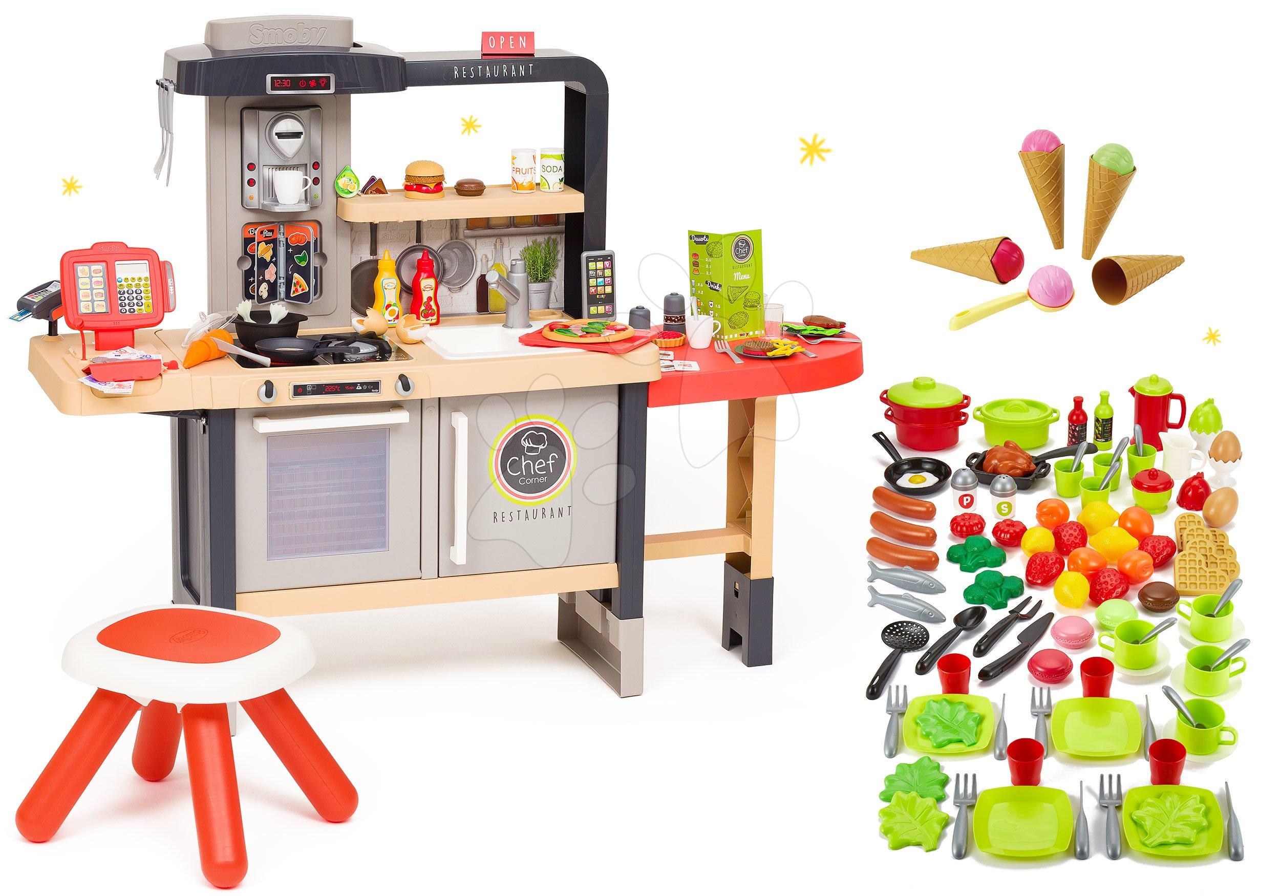 Set reštaurácia s elektronickou kuchynkou Chef Corner Restaurant Smoby a doplnky na varenie 100 kusov ovocie zelenina a potraviny s riadom a zmrzlinou