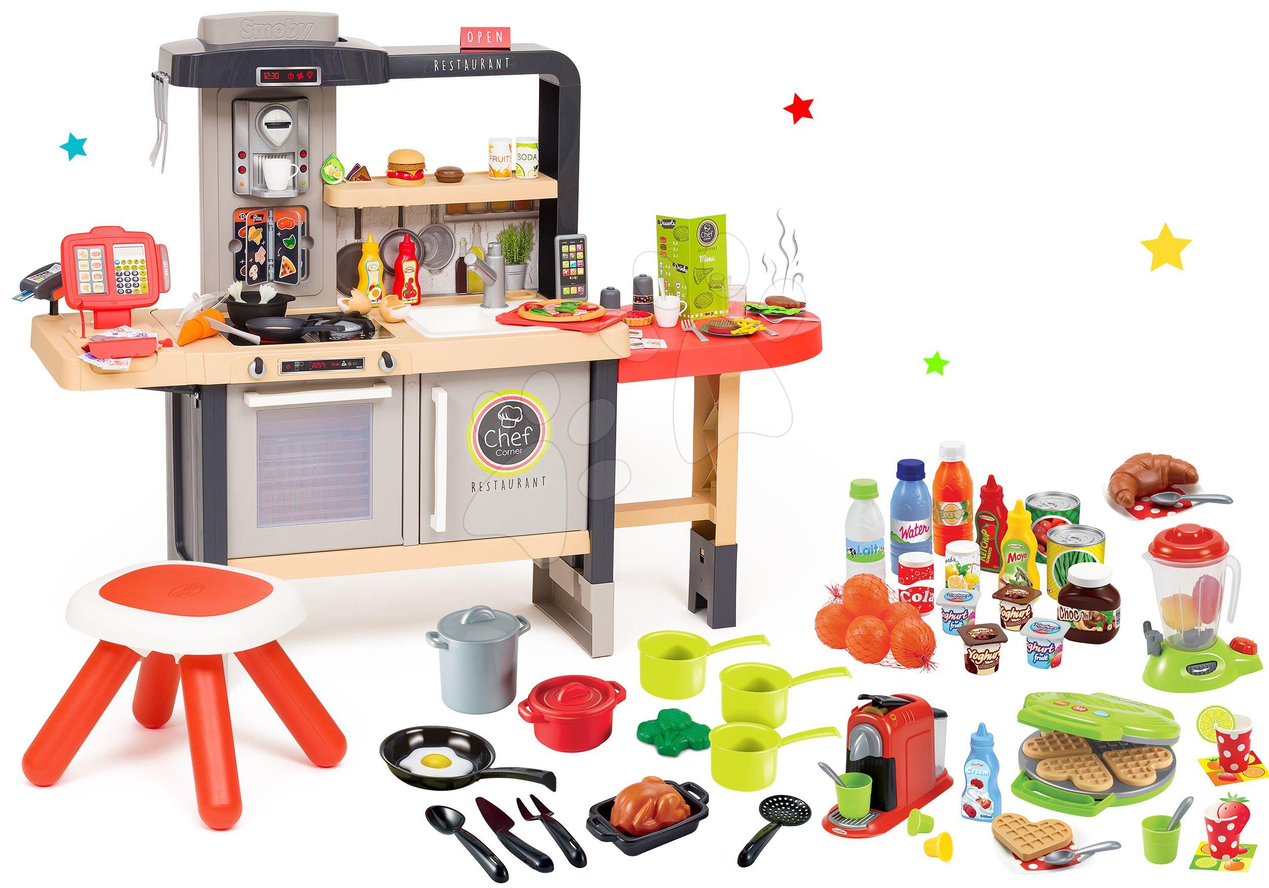 Set restaurace s elektronickou kuchyňkou Chef Corner Restaurant Smoby a vaflovač s mixérem, potravinami a nádobím