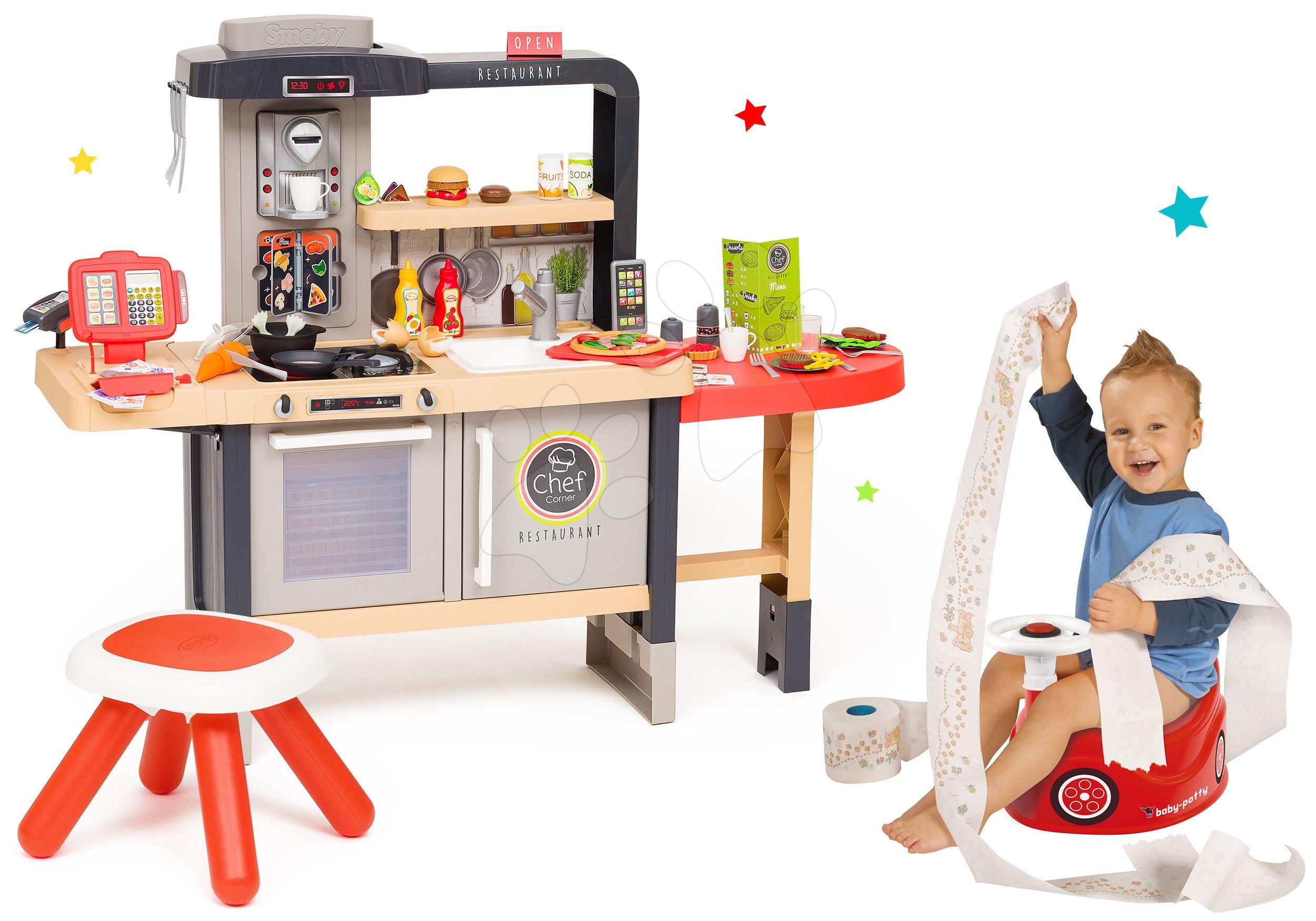 Set reštaurácia s elektronickou kuchynkou Chef Corner Restaurant Smoby a nočník auto so zvukovým volantom ako Darček