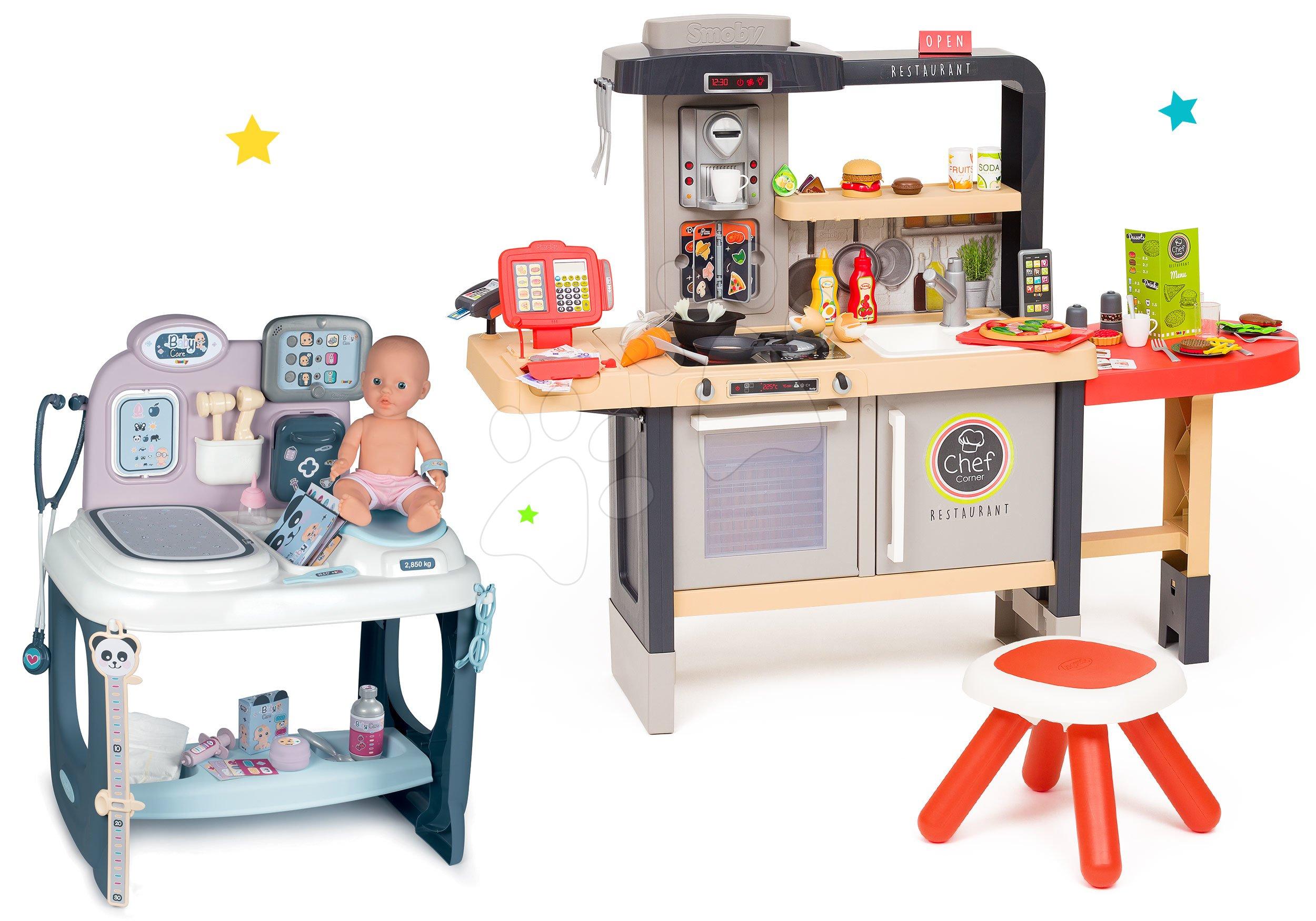 Set reštaurácia s elektronickou kuchynkou Chef Corner Restaurant Smoby a zdravotnícky pult s bábikou so zvukom a svetlom