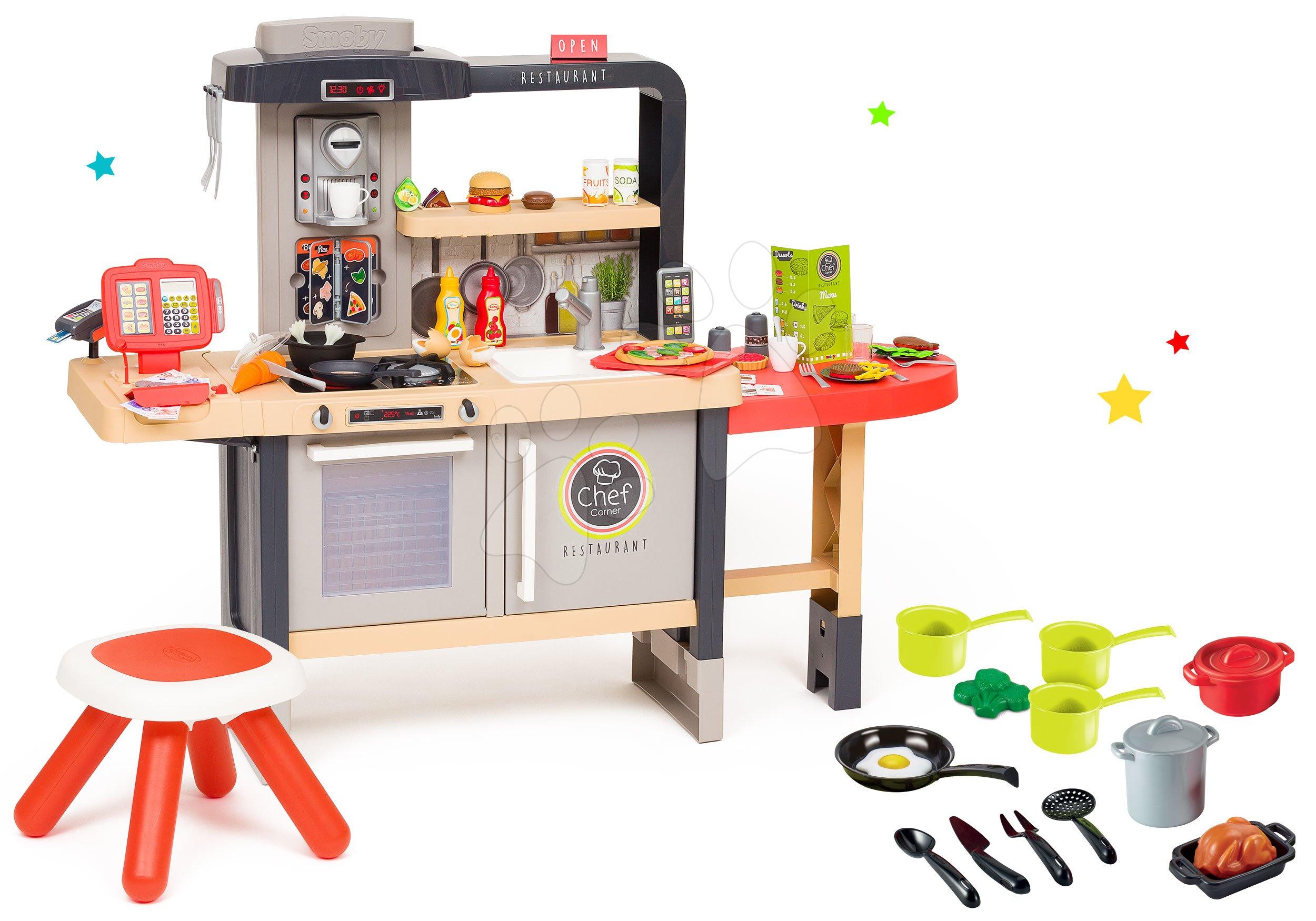 Elektronické kuchynky - Reštaurácia s elektronickou kuchynkou Chef Corner Restaurant Smoby a riadom a hrncami