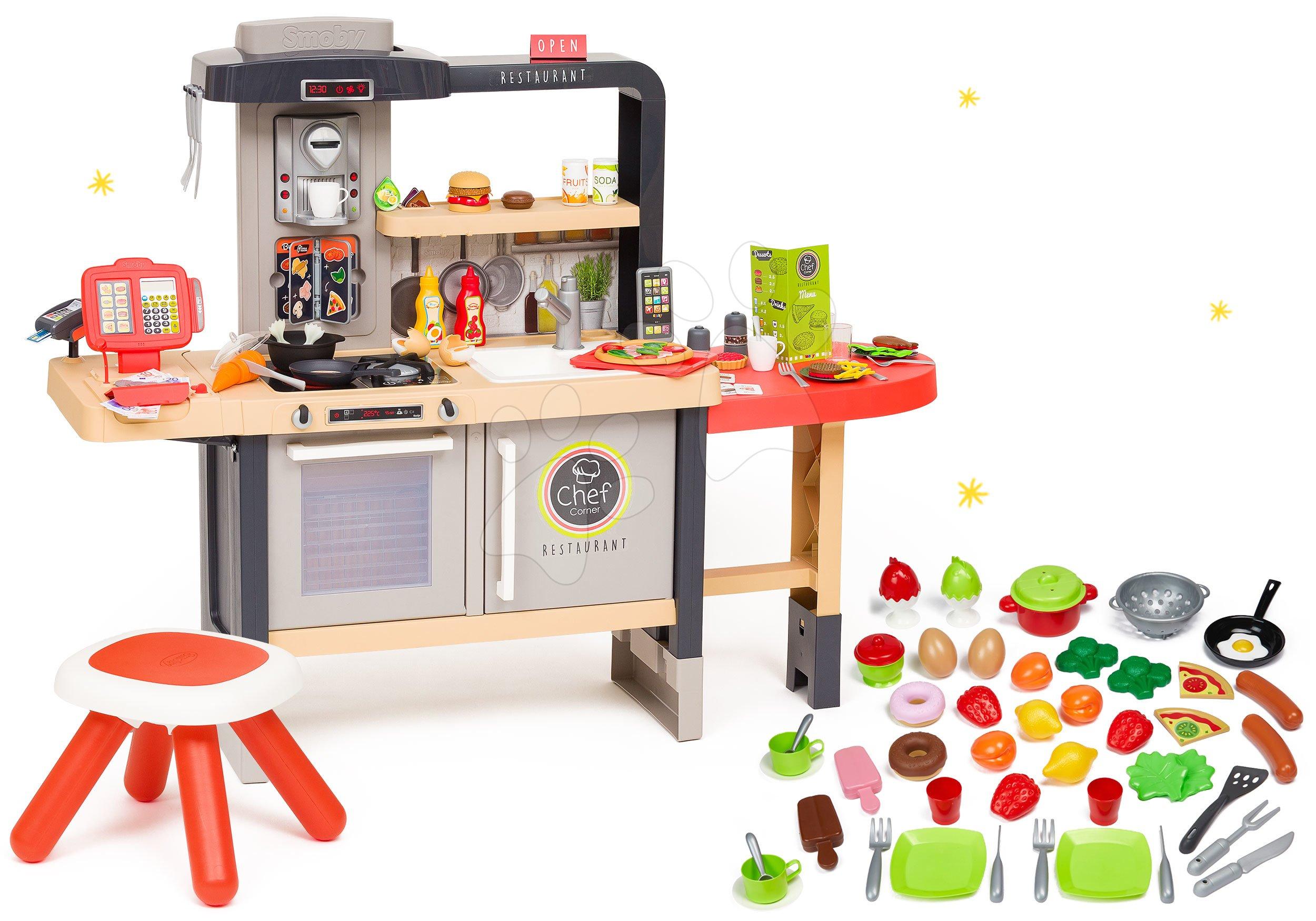 Restaurace s elektronickou kuchyňkou Chef Corner Restaurant Smoby a potraviny s nádobím 50 dílů