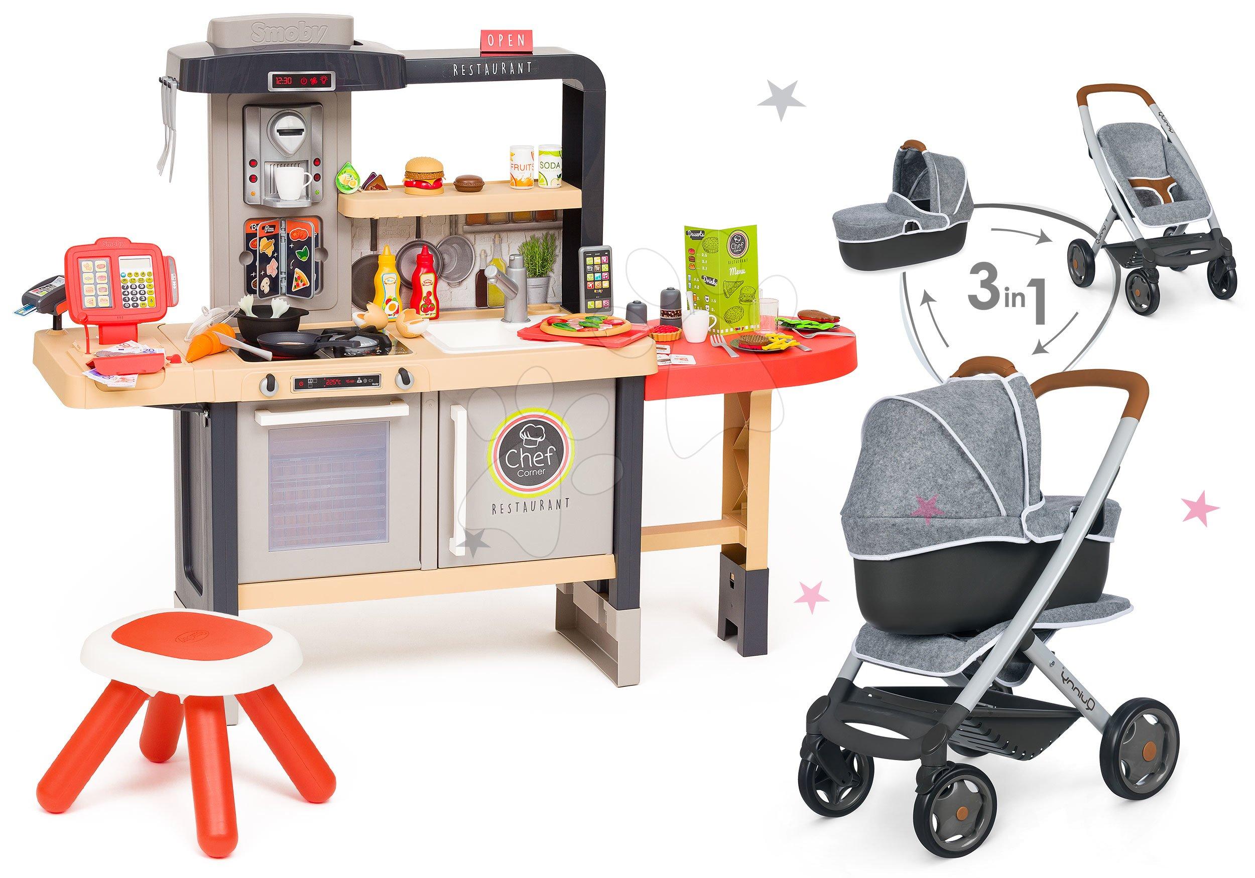 Set reštaurácia s elektronickou kuchynkou Chef Corner Restaurant Smoby a kočík hlboký a športový DeLuxe Maxi Cosi & Quinny Grey