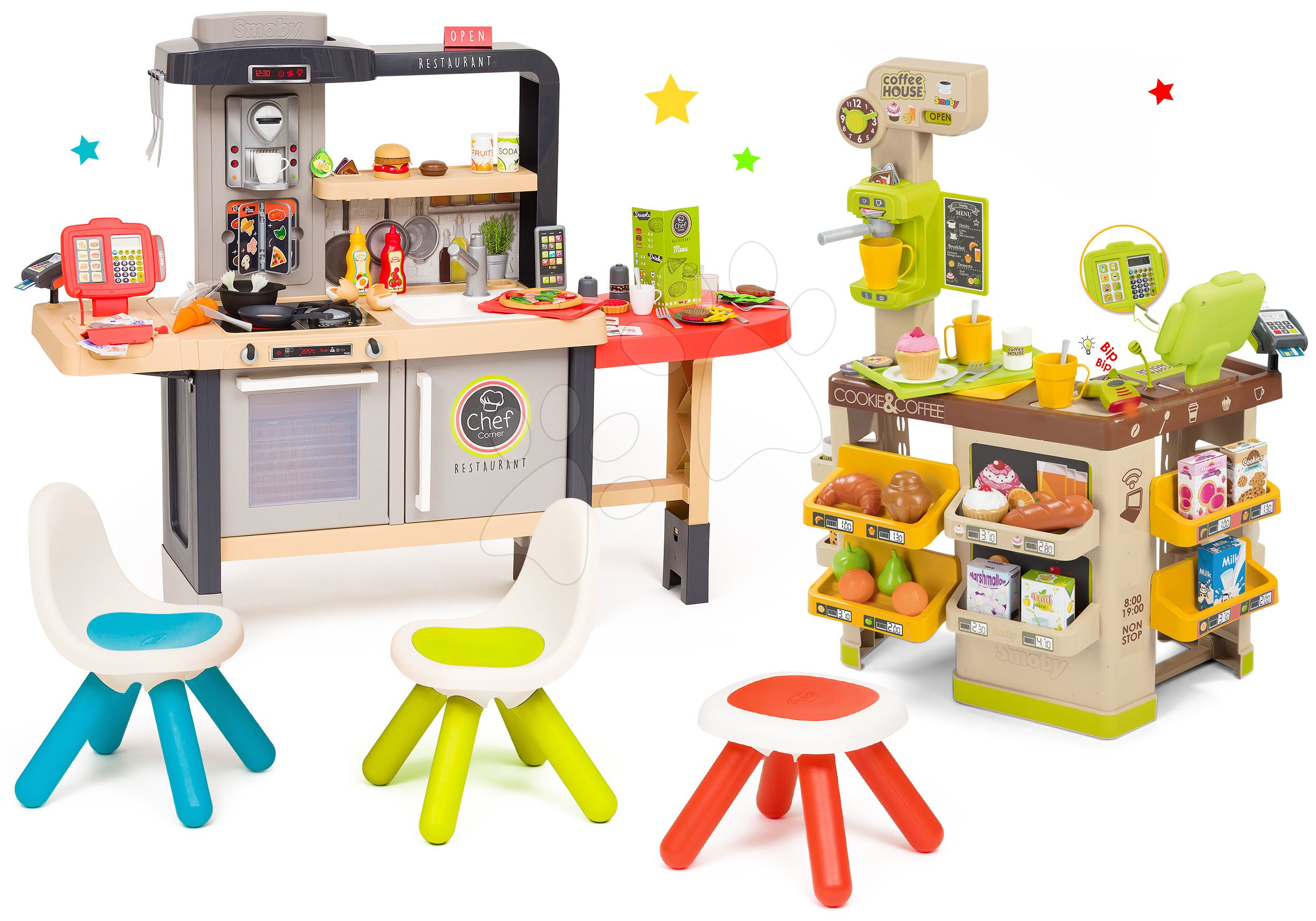 Set restaurace s elektronickou kuchyňkou Chef Corner Restaurant Smoby s koutkem kavárnou s židlemi